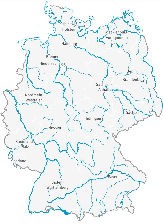 Deutschlandkarte zu Badegewässern
