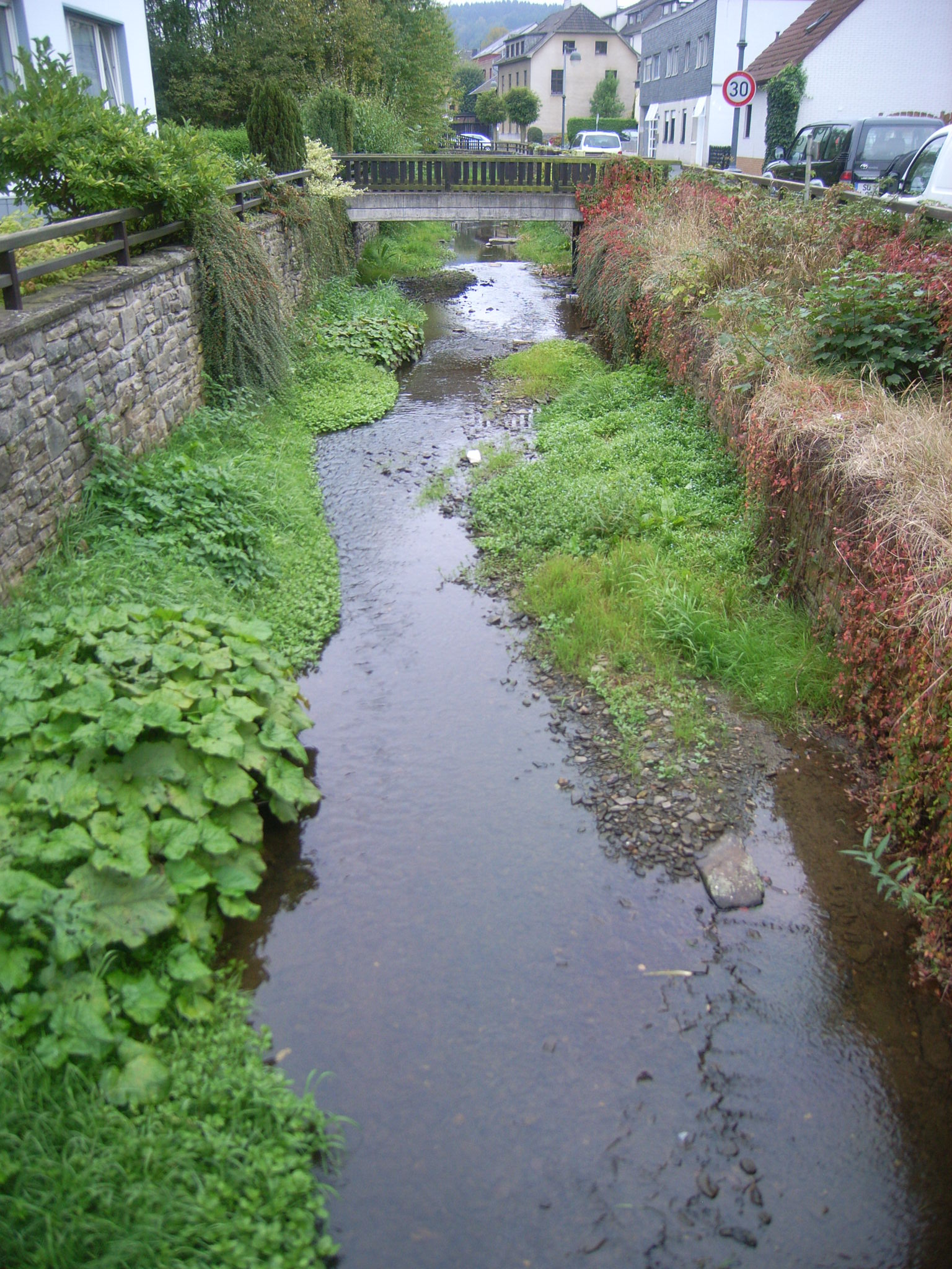 Foto: Bach mit hohen Ufermauern und angrenzenden Häusern und Straßen in Ortslage. Die Gewässersohle ist offen, mit Kies bedeckt und stellenweise bewachsen. Der Bach verläuft leicht schwingend im Kastenprofil.