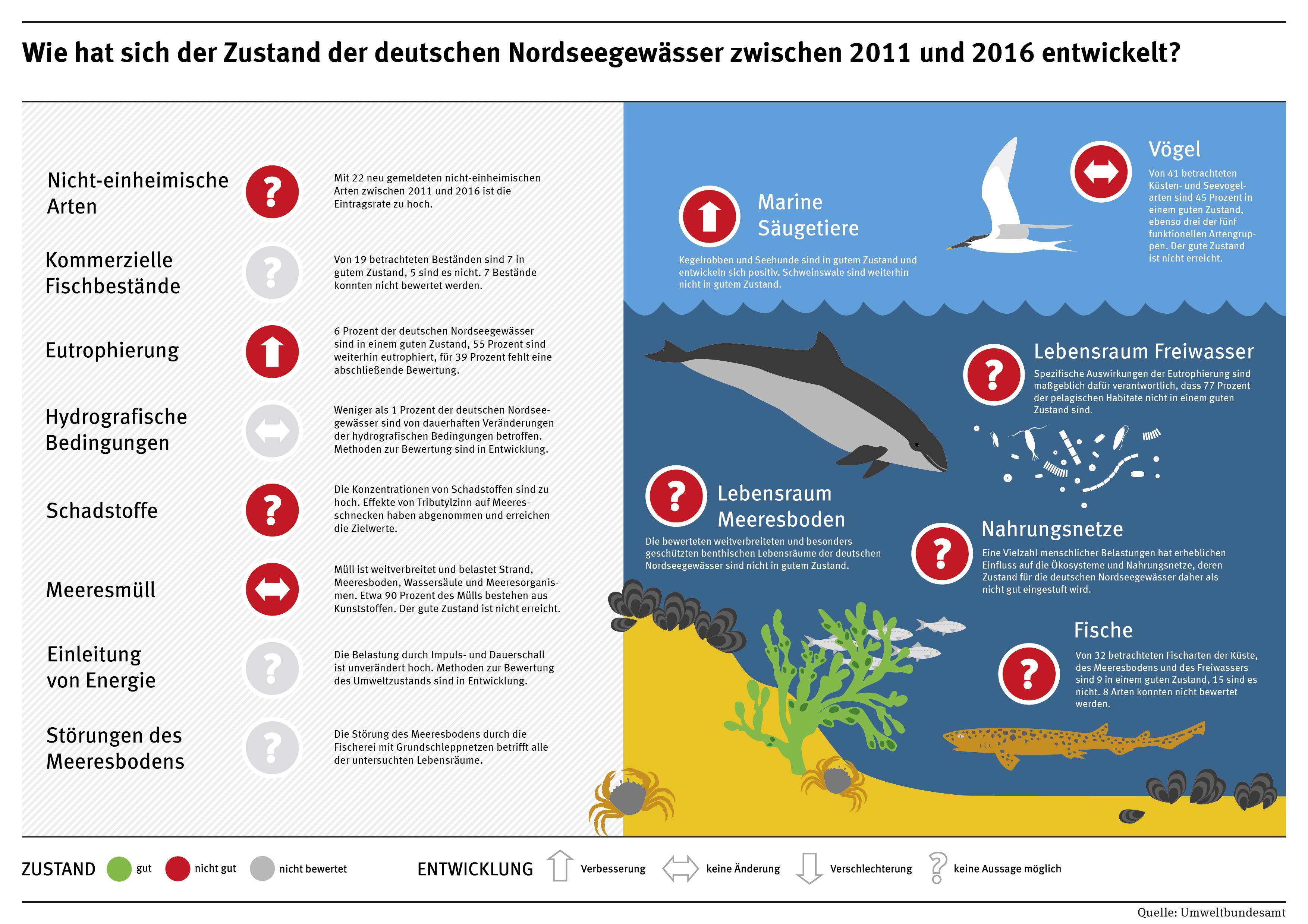 Infografik: Zustand der deutschen Nordseegewässer