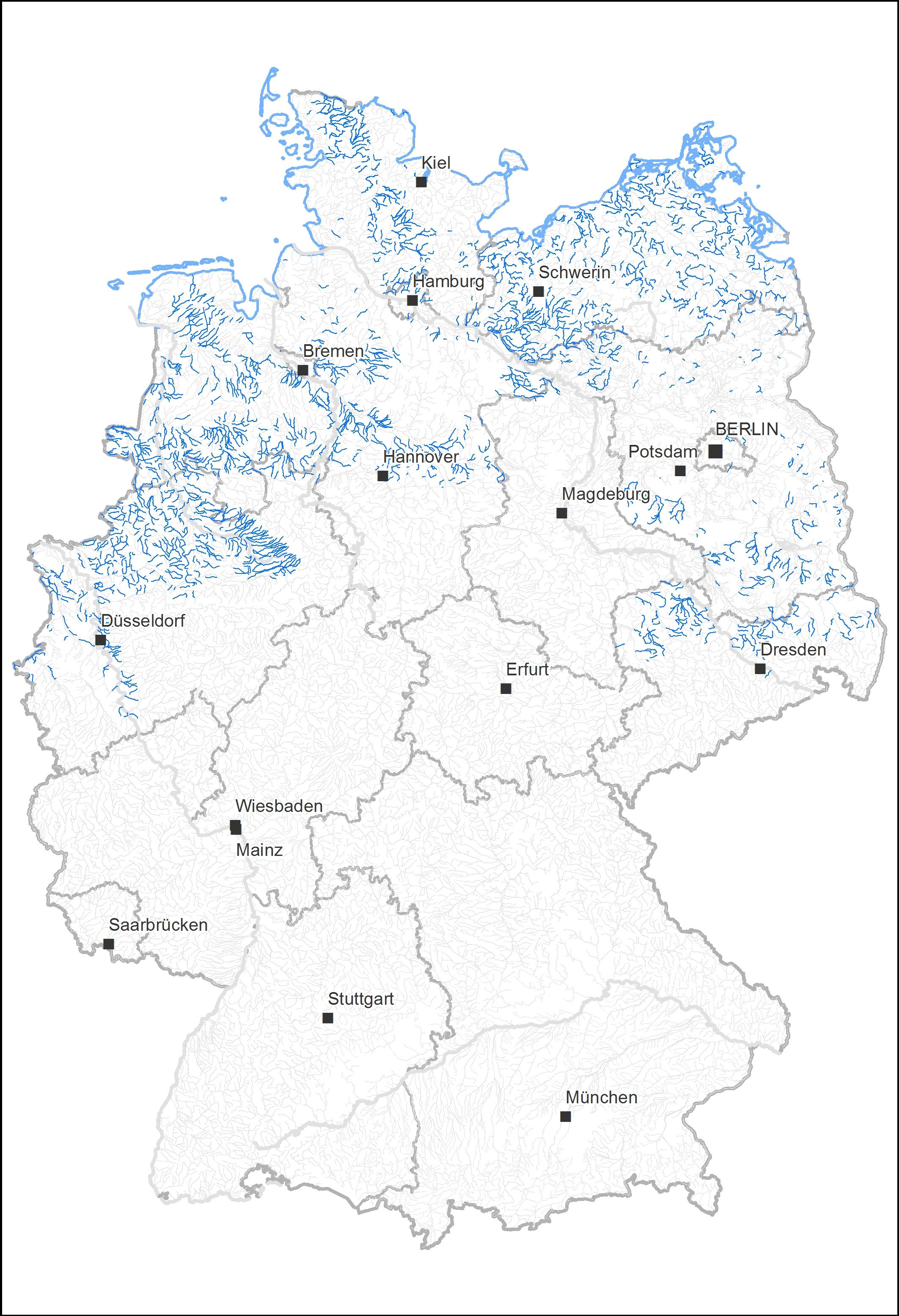 """Deutschlandkarte mit den Flüssen vom Typ """"sandiger Tieflandbach"""""""