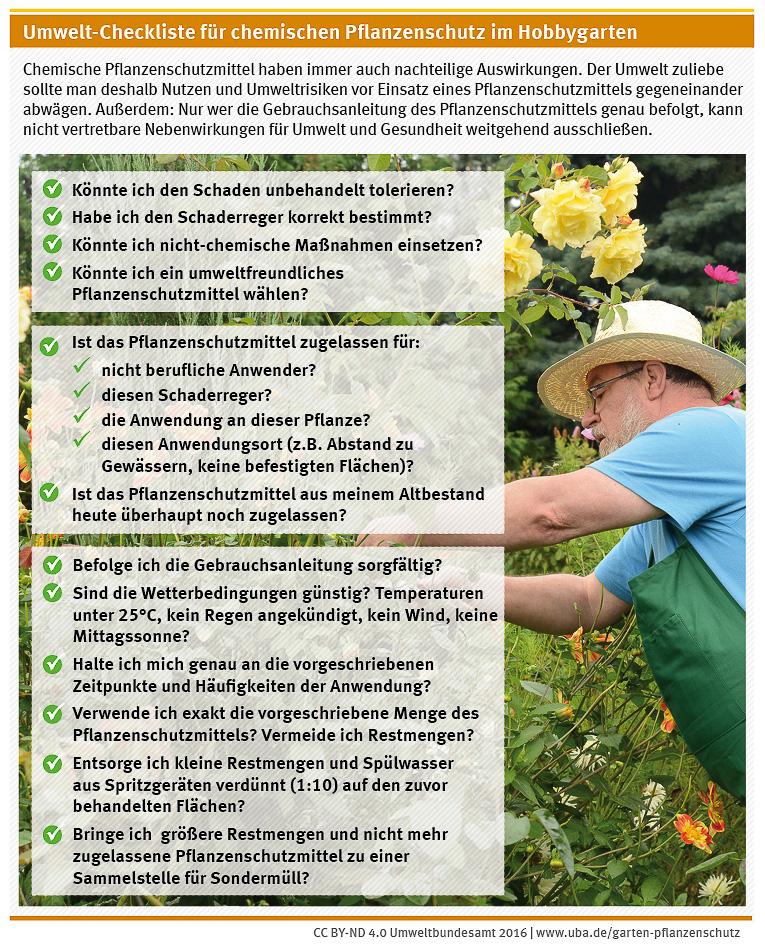 Umwelt-Checkliste für chemischen Pflanzenschutz im Hobbygarten mit einem bärtigen Mann mit Brille und Hut, der die Rosen schneidet im Hintergrund