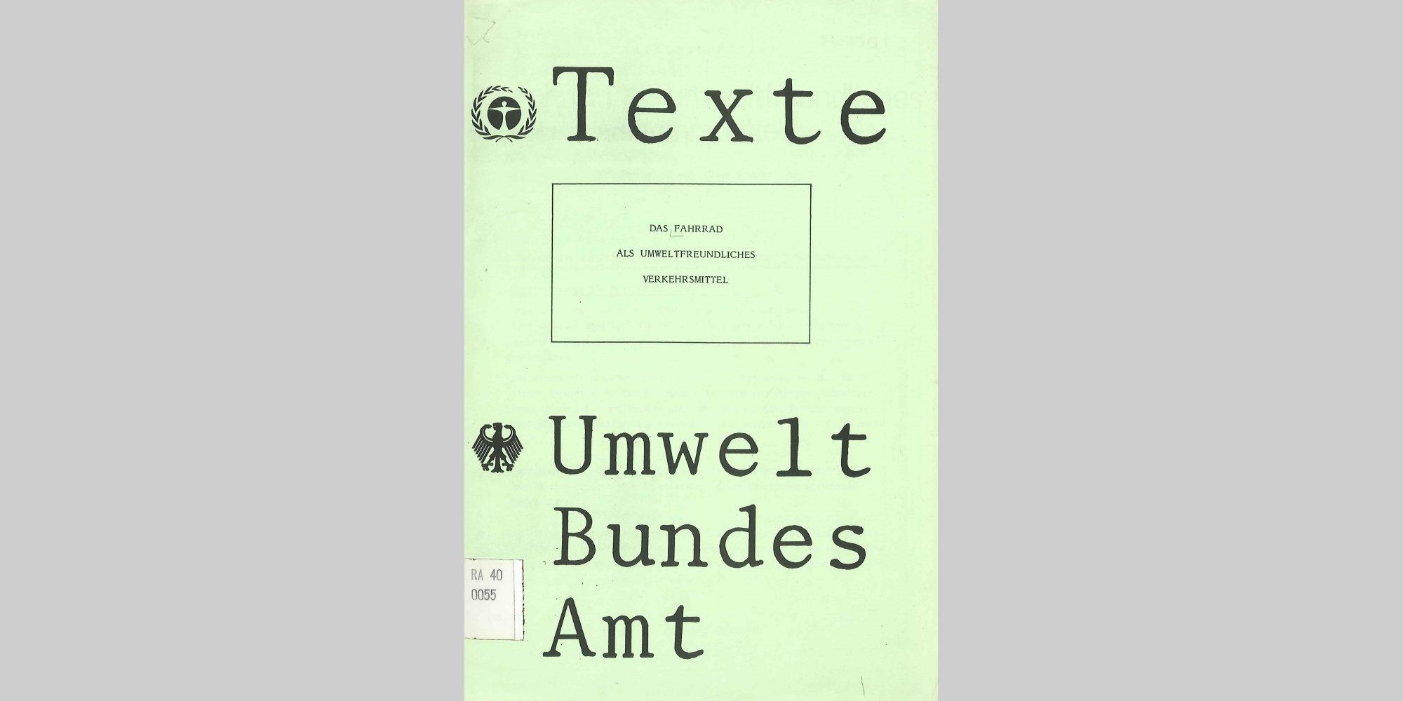 Cover des 1. Bandes der UBA-Reihe 'Texte'