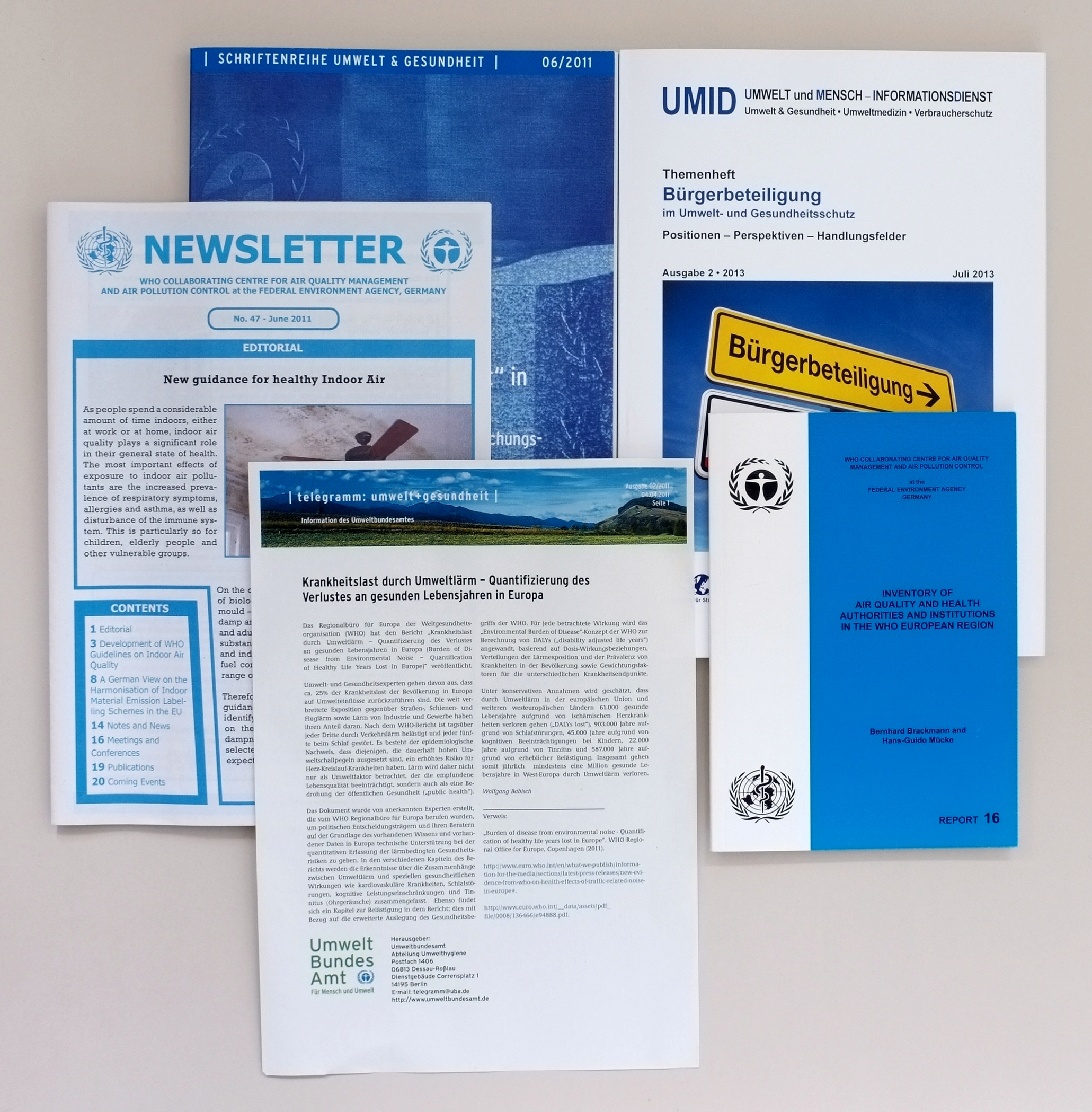 The cover pictures of newsletters and series about environment and health are shown.