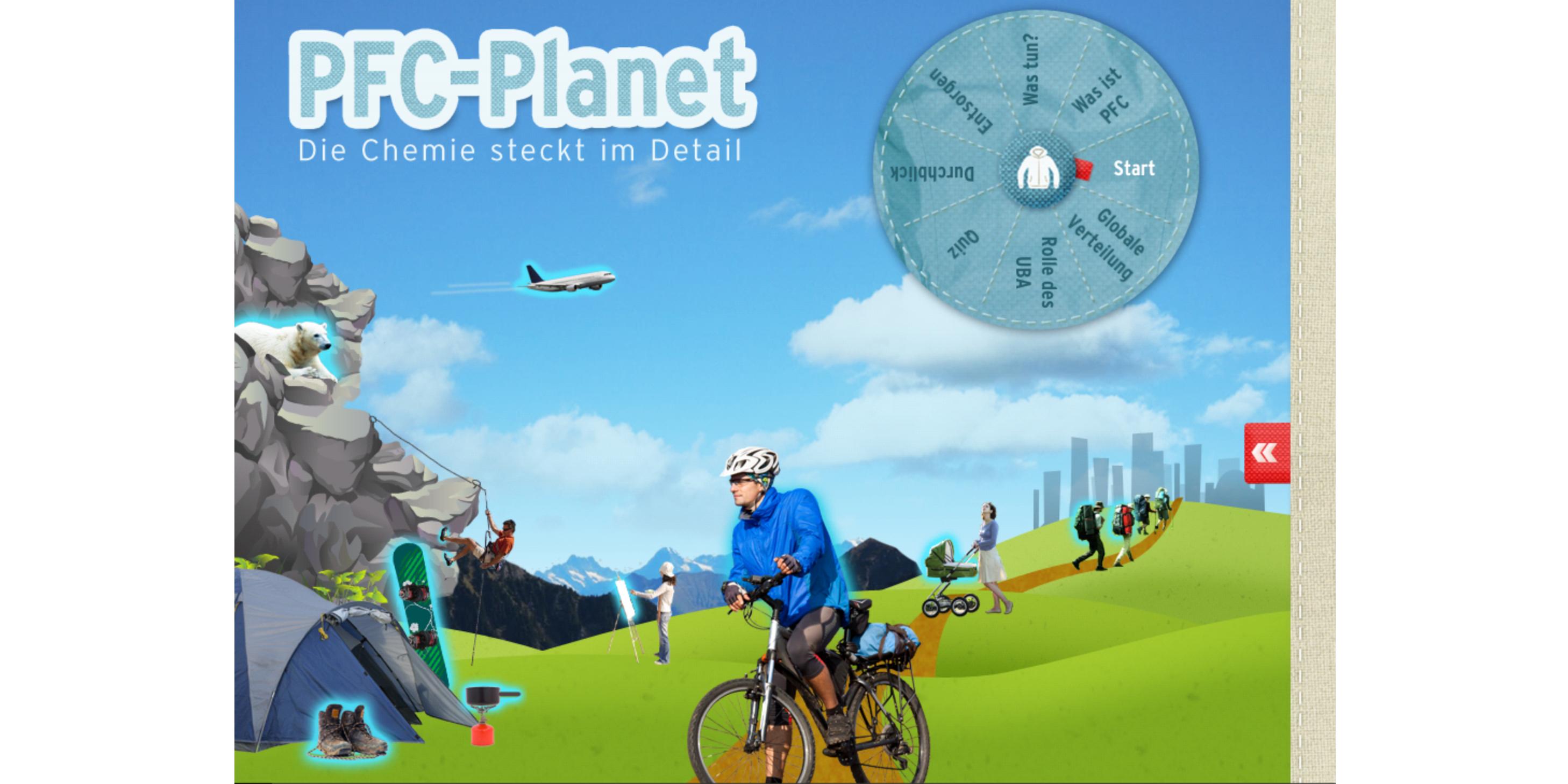 """Startbildschirm der App """"PFC-Planet"""" des Umweltbundesamts"""