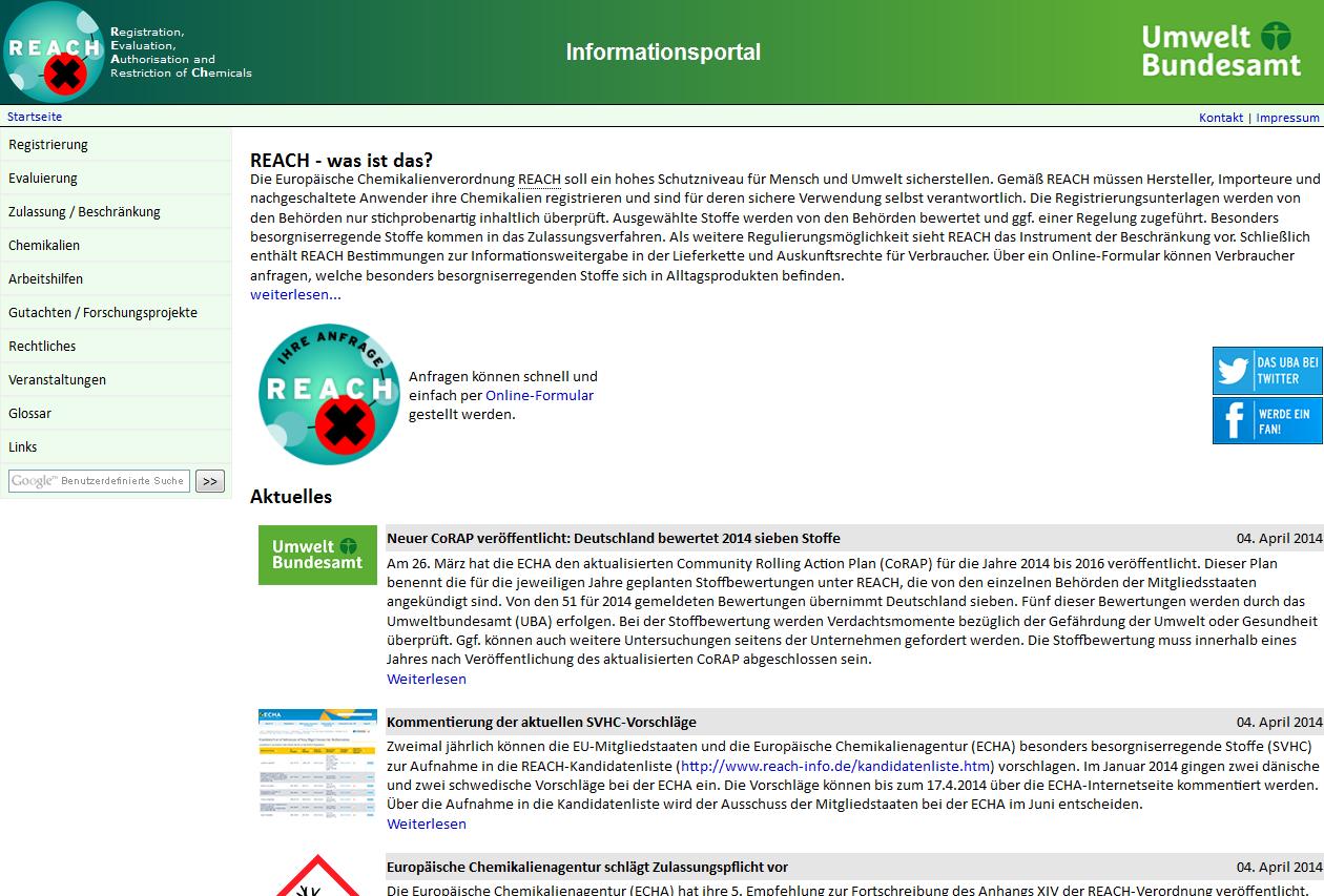 Startseite der Website REACH-info