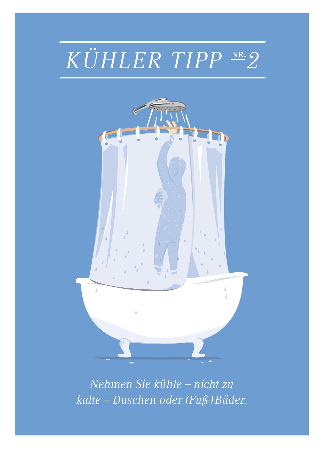 Grafik einer Person unter der dusche mit dem Tipp öfter eine kühle Dusche zu nehmen oder ein Fußbad