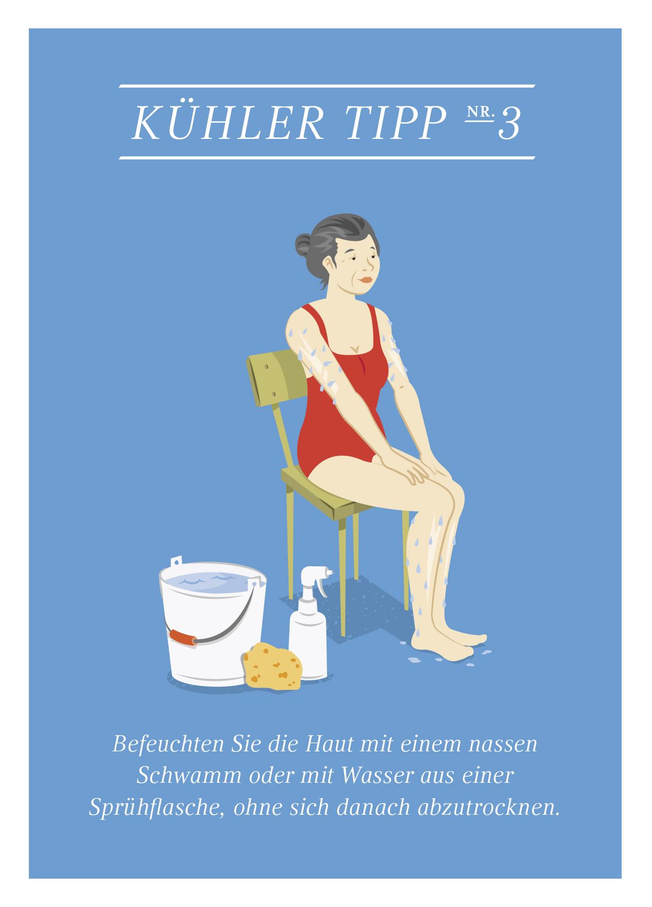 Grafik einer Dame die auf einem Stuhl sitzt und sich mit Schwamm und Sprühflasche die Haut befeuchtet