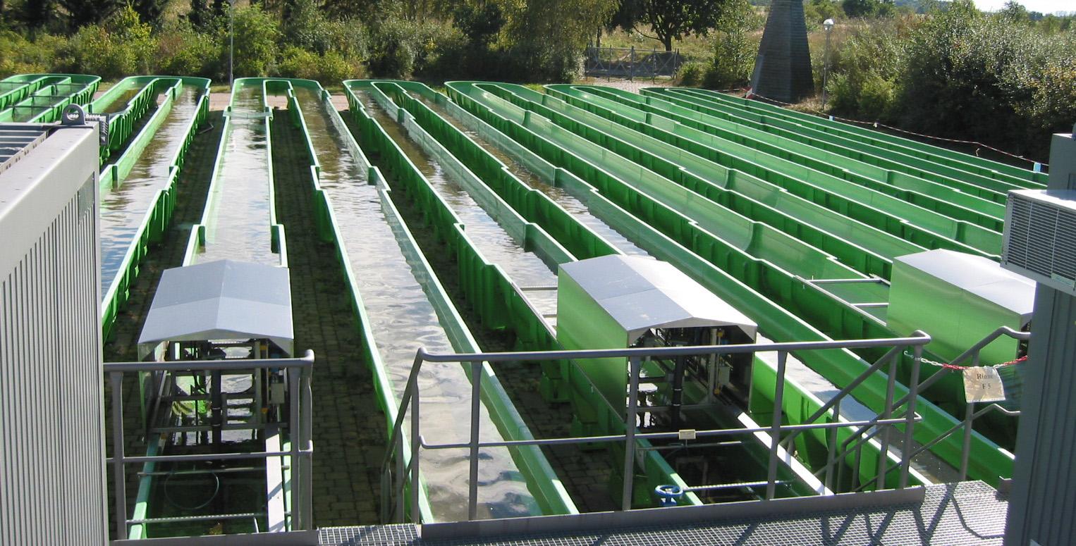 in schlangenlinien geführte künstliche grüne Rinnen im Freien, in denen Wasser fließt