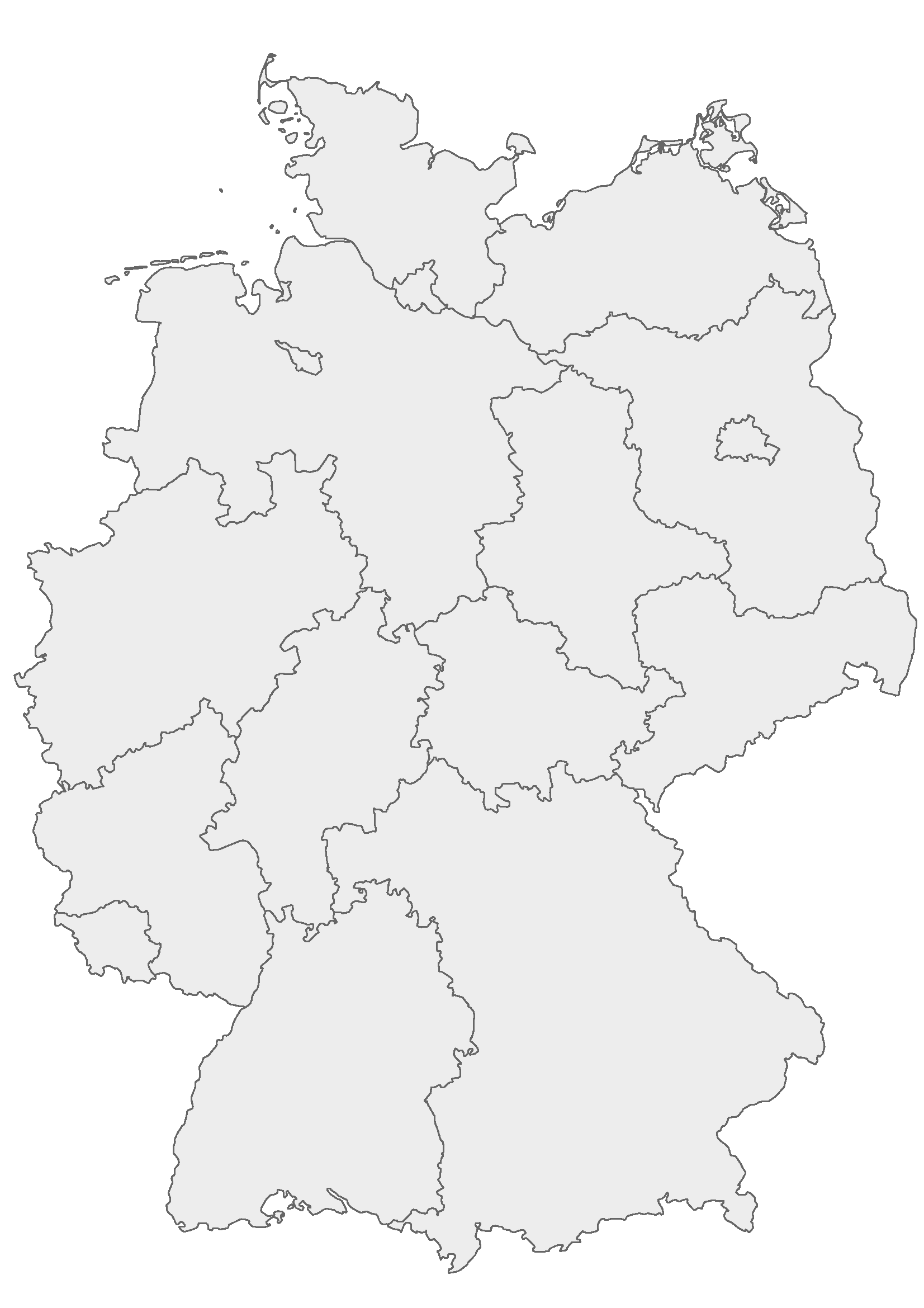 Deutschland-Karte mit Grenzen der Bundesländer