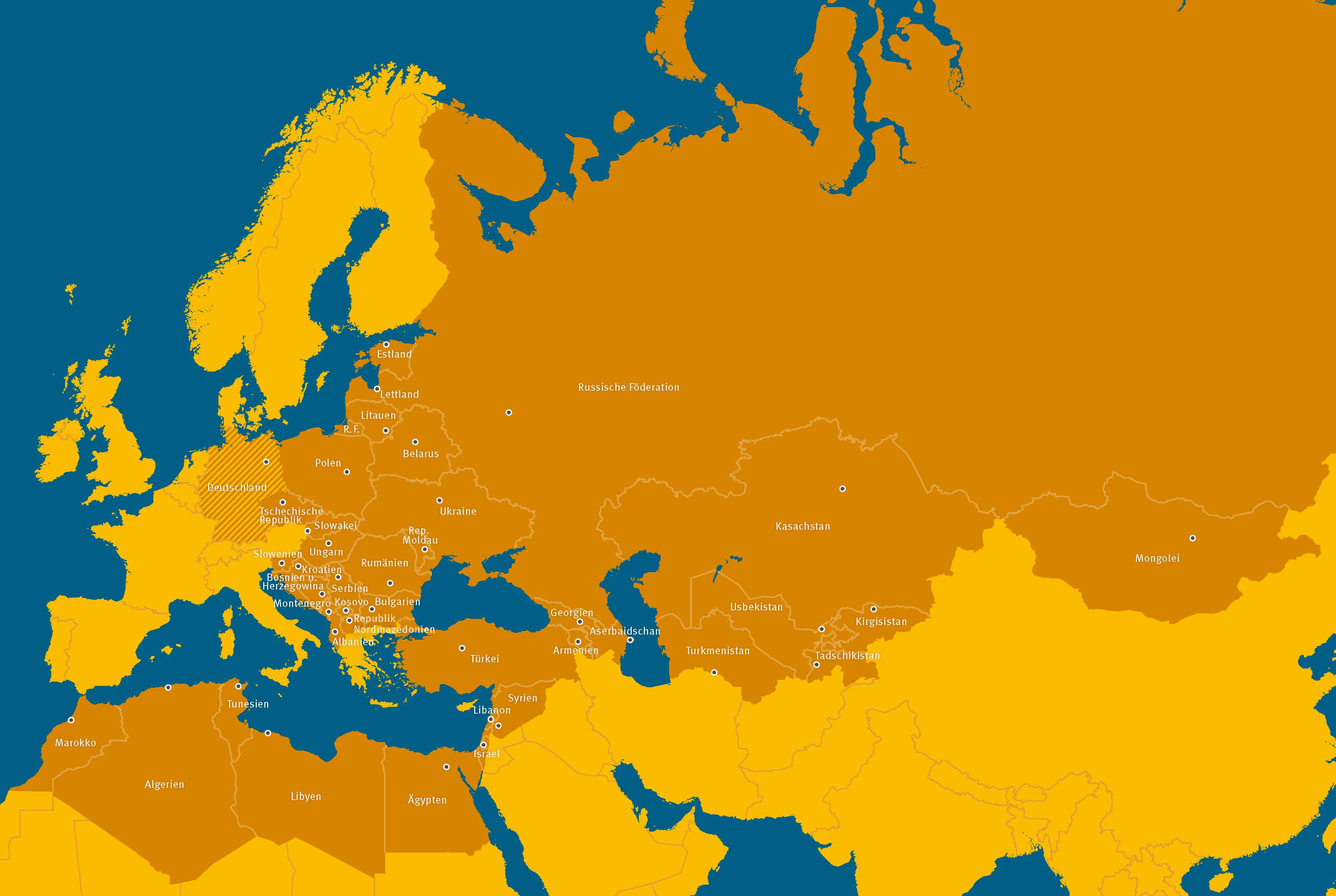 Landkarte Mittel- und Osteuropa, Kaukasus, Zentralasien, Teile der MENA-Region, Mongolei, Russland