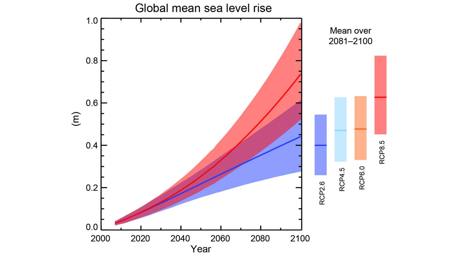 Kurvendiagramm: Die Kurven steigen steil an von etwa 0 Meter im Jahr 2000 auf (je nach Szenario) etwa 0,3 bis 1 Meter