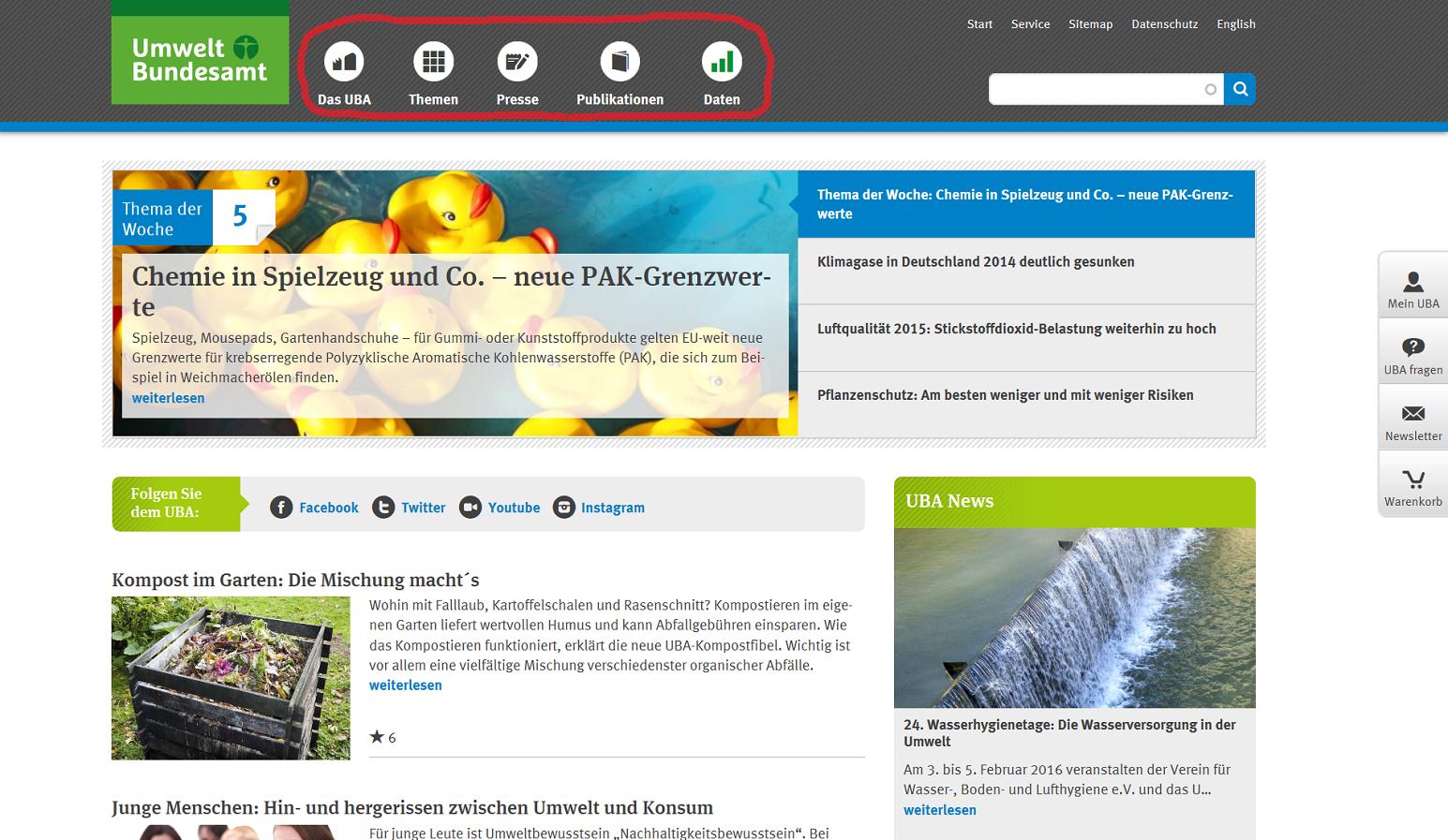 Screenshot der UBA-Website, rot umrandet die Hauptnavigation