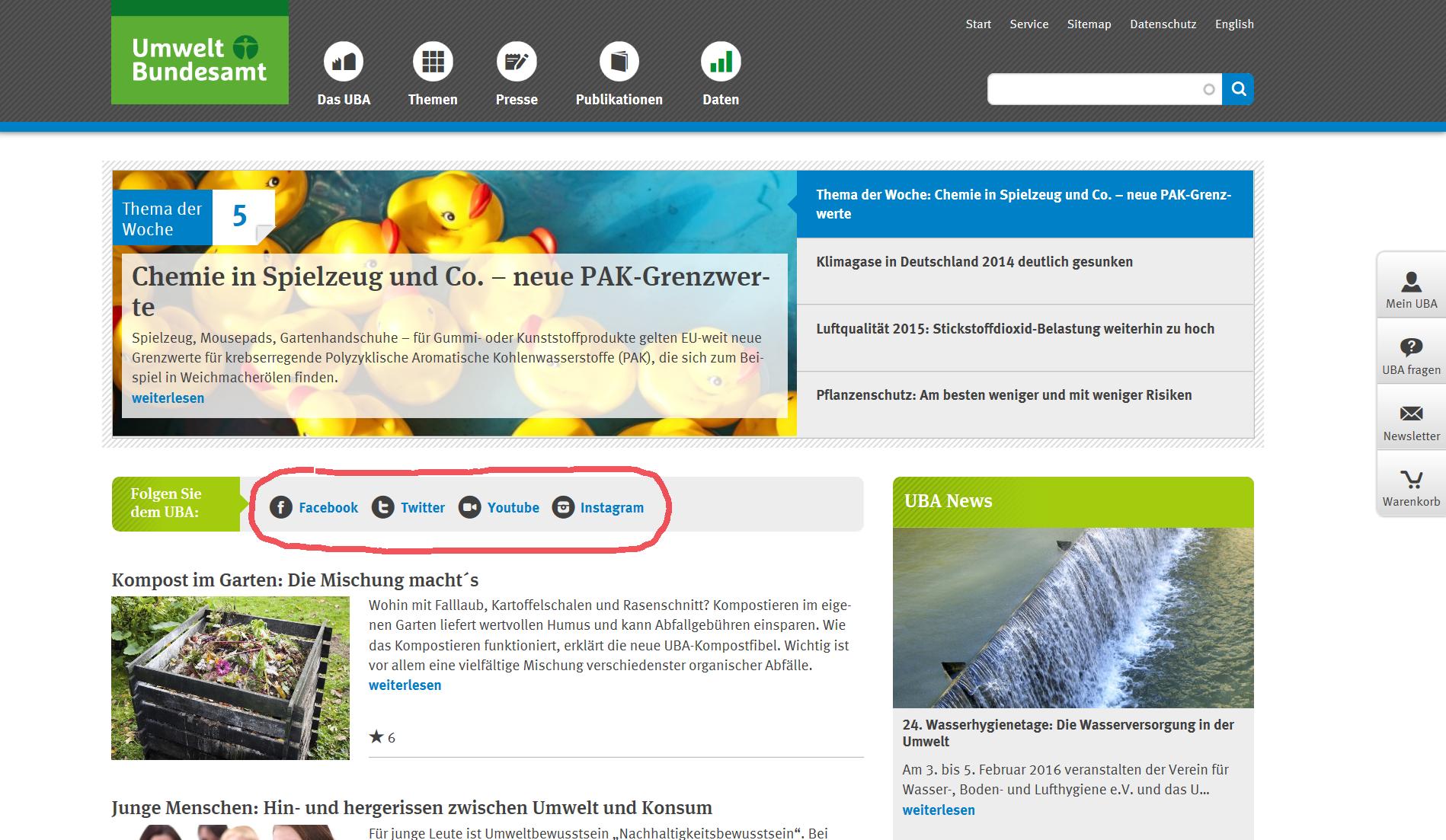 Screenshot der UBA-Website, rot umrandet die Links zu Facebook, Twitter, Youtube und Instagram