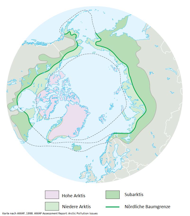 Karte der klimatisch-geografischen Regionen der Arktis
