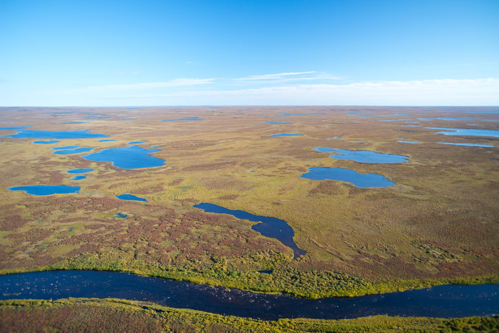 Weite Ebenen karger Landschaft: Nunavut, Kanada