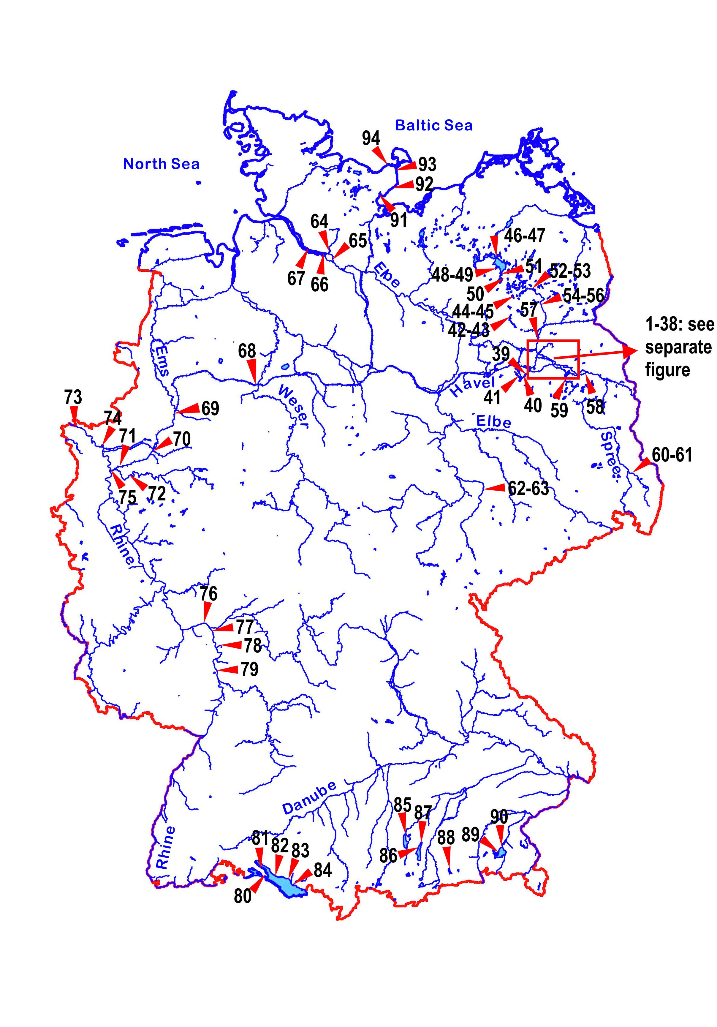 Die Deutschlandkarte zeigt die Stellen der Probenentnahme zur Untersuchung der Irgarolkonzentration