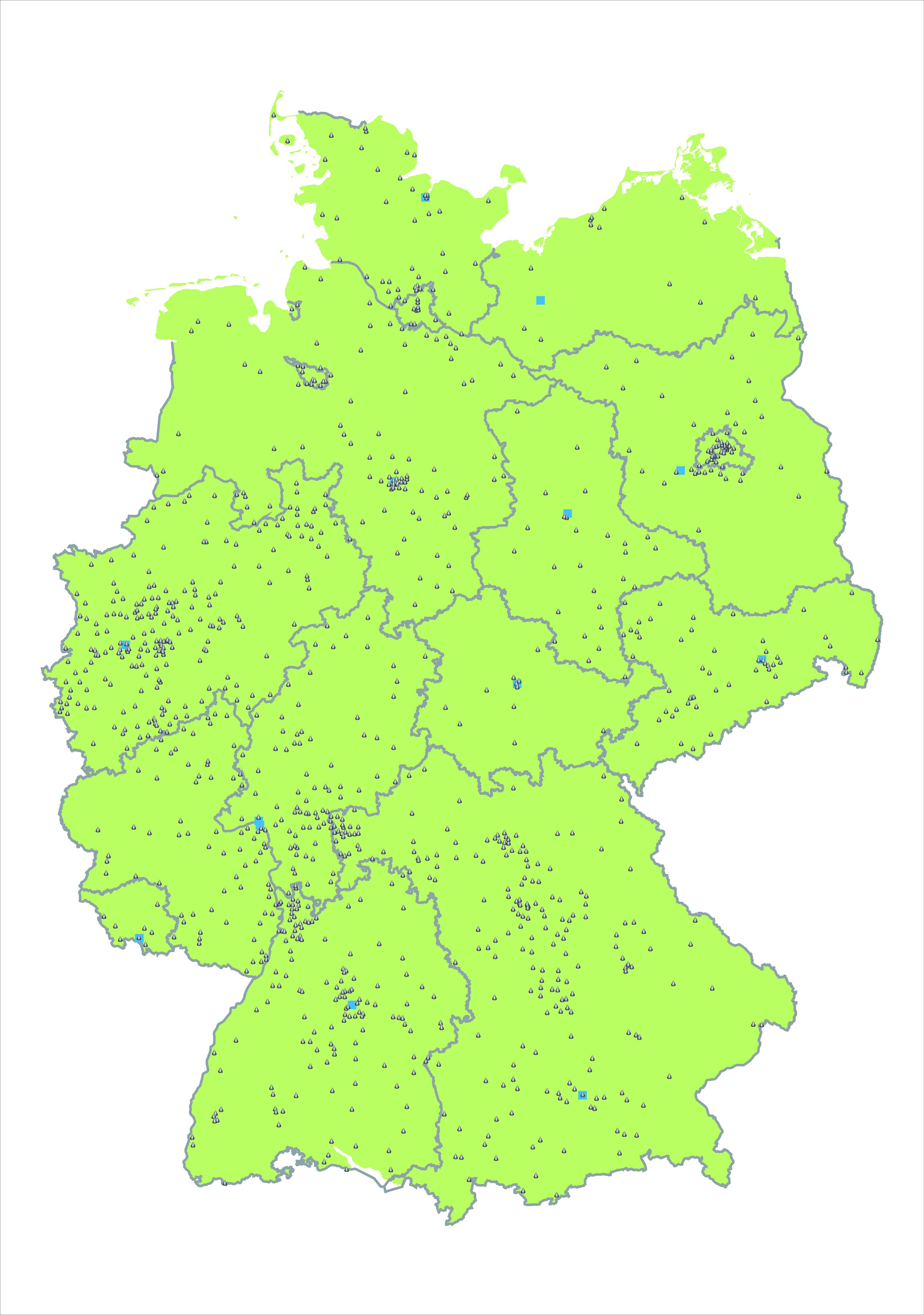 Eine Karte zeigt die Standorte der Bibliotheken, bei denen Sie das Energiesparpaket ausleihen können.