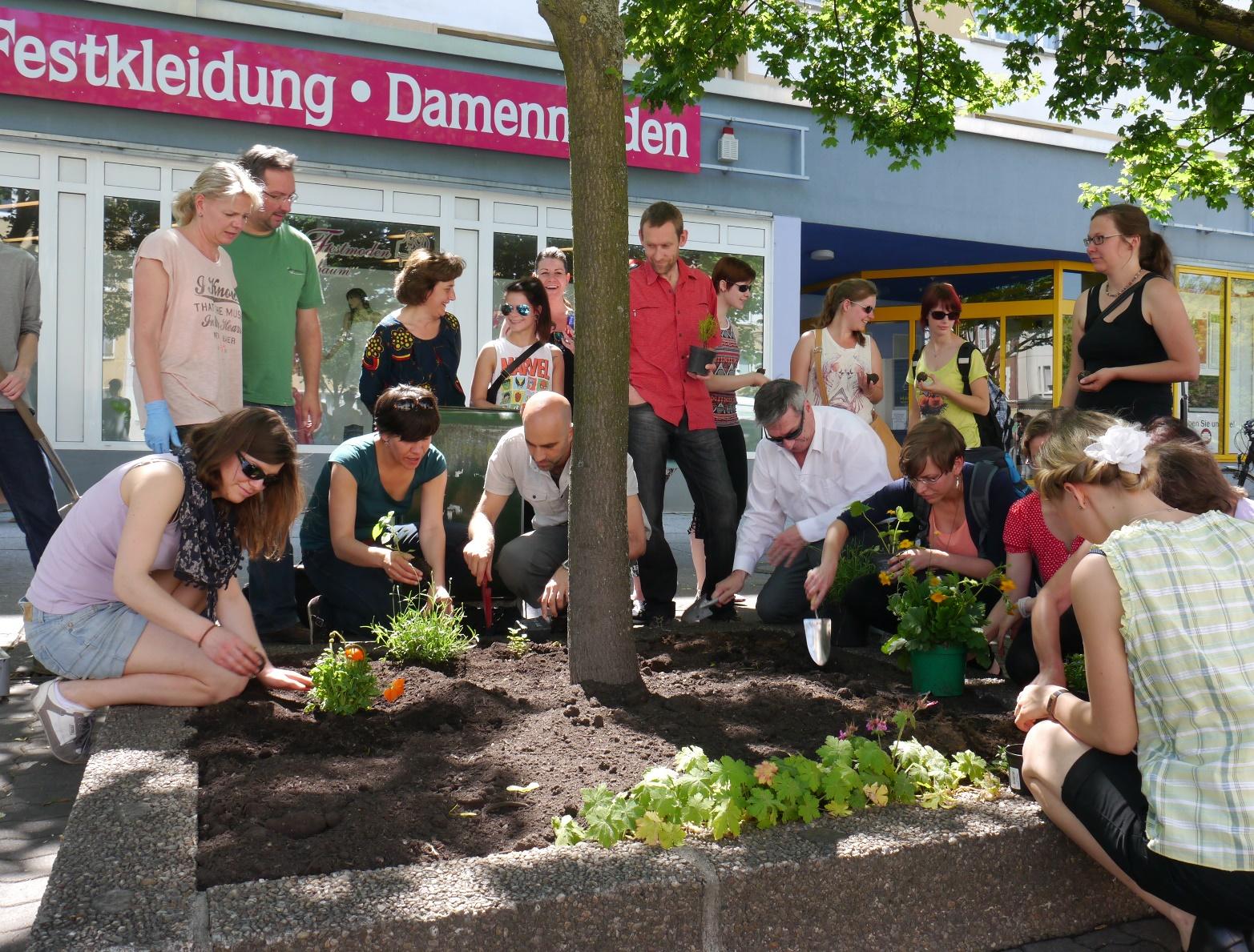 Mitarbeiter des UBA und Kinder pflanzen in der Dessauer Innenstadt ein Blumenbeet (Baumscheibe)