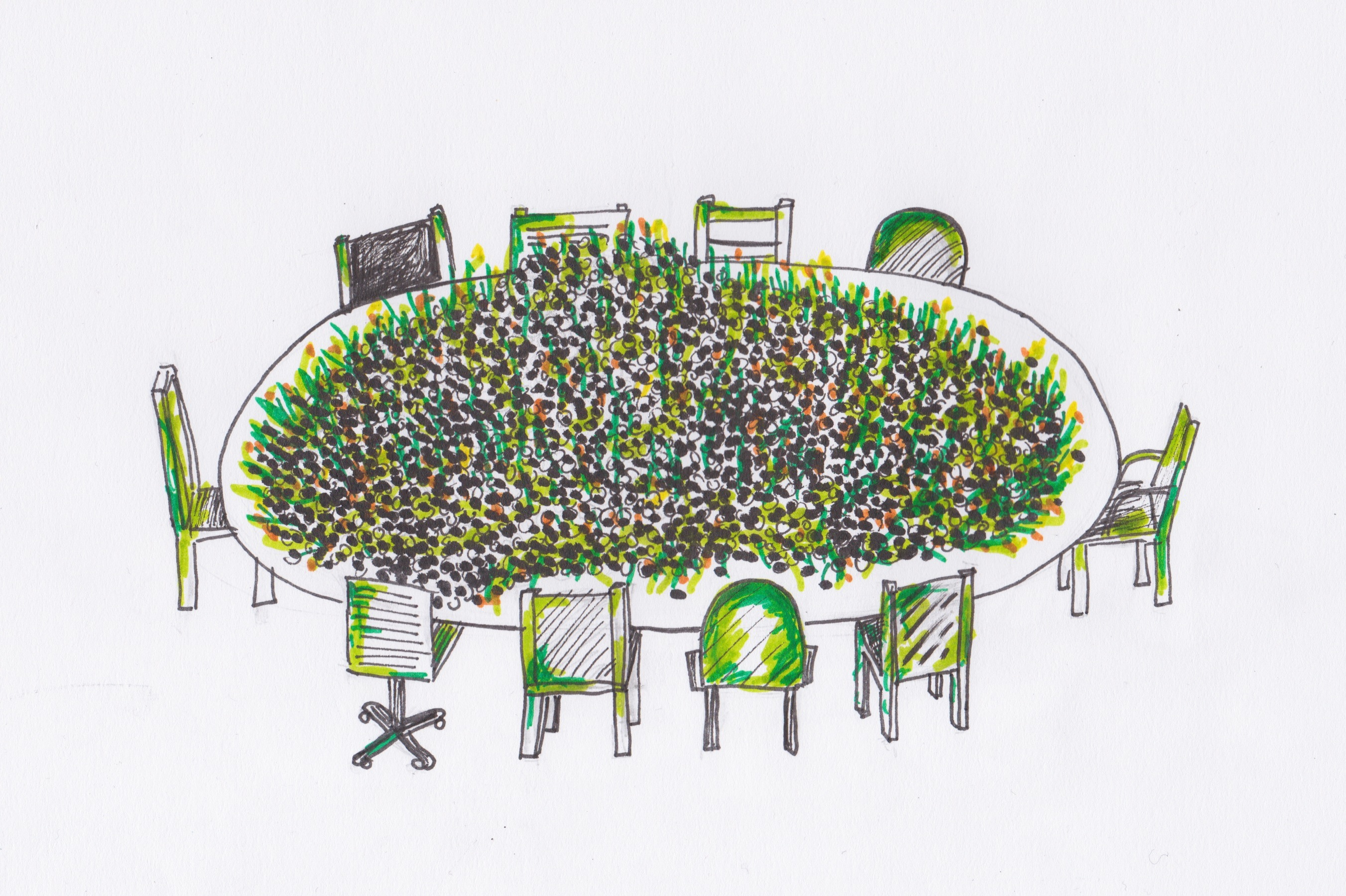 Skizze der Ausstellung zeigt einen Tisch mit zehn Stühlen, auf dem Tisch liegen unzählige Saatbälle.