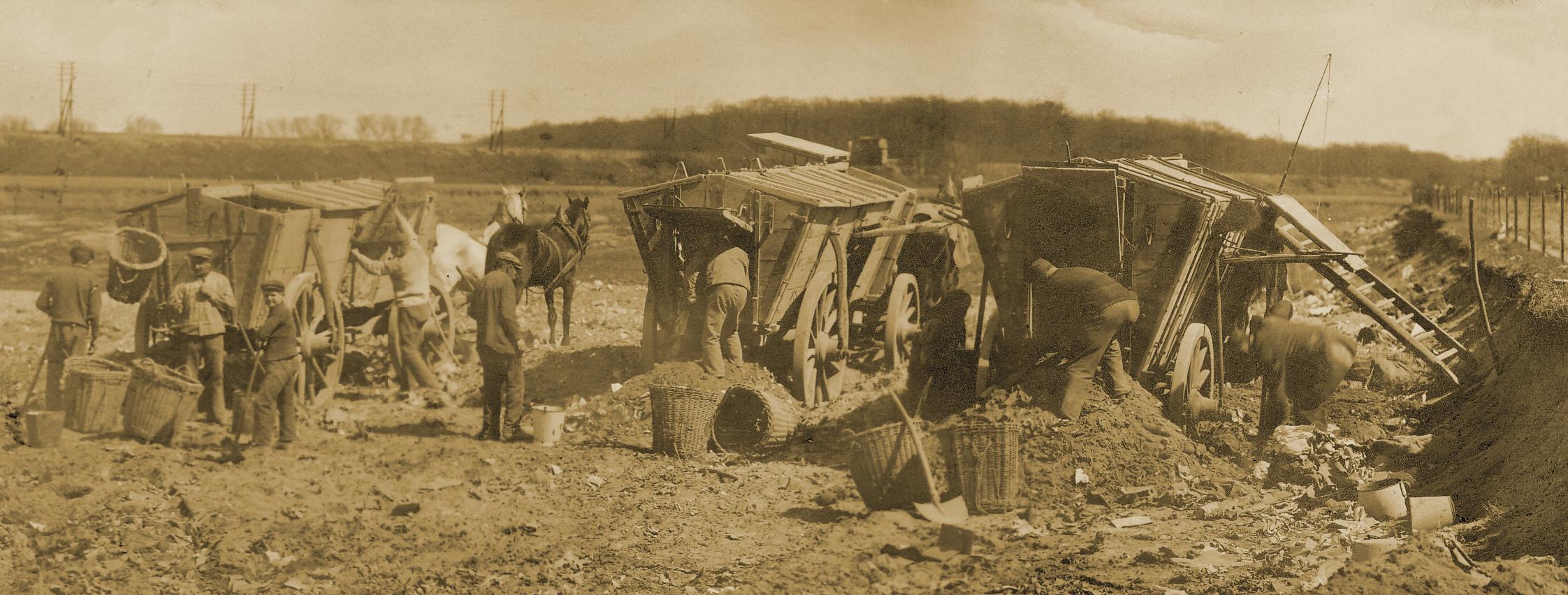 Mehrere Arbeiter reinigen drei Pferdewagen