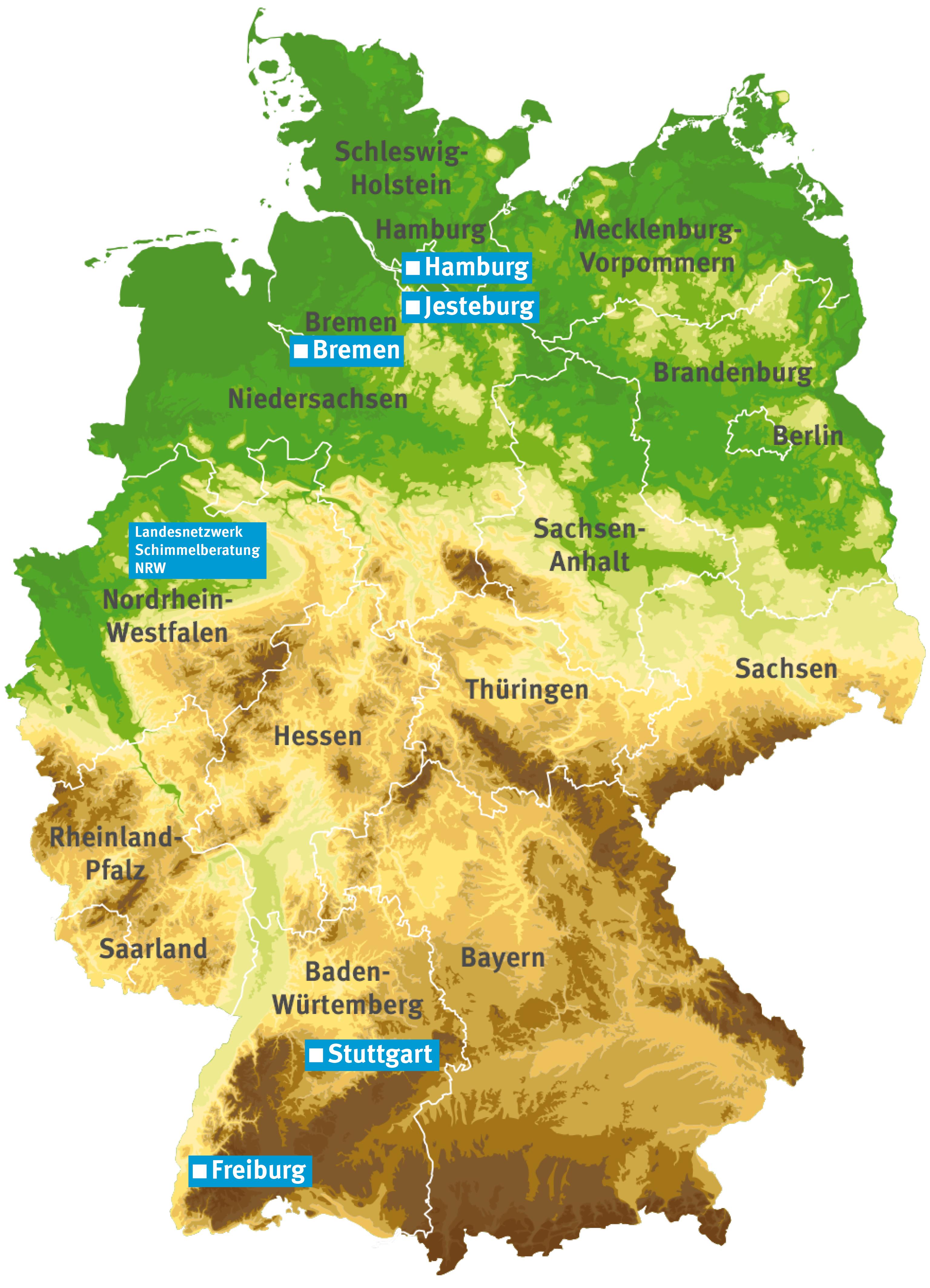 Deutschlandkarte mit den Standorten der Beratungsstellen des Netzwerks Schimmelpilzberatung