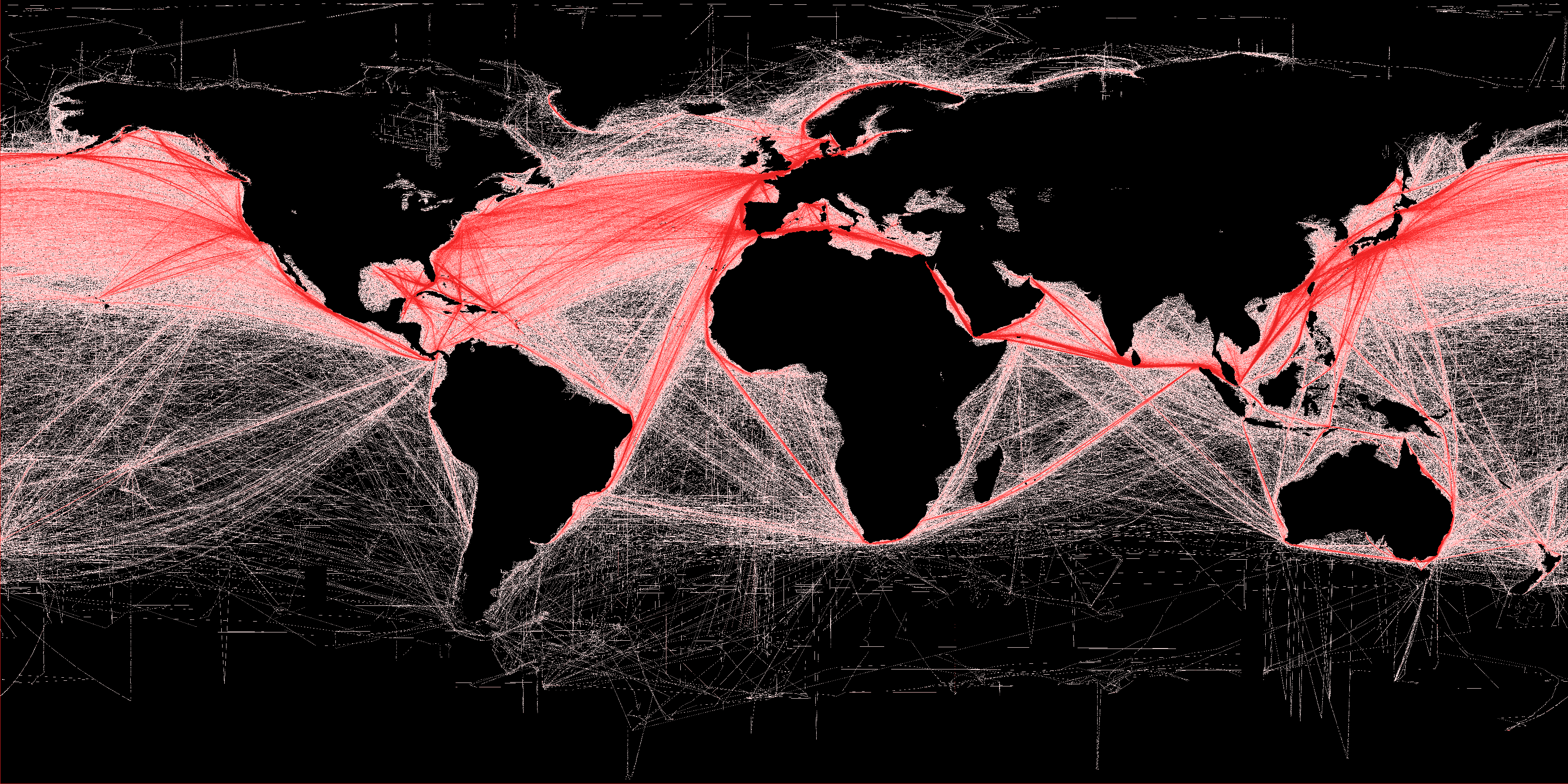 Map of human impact on marine ecosystems, global shipping routes