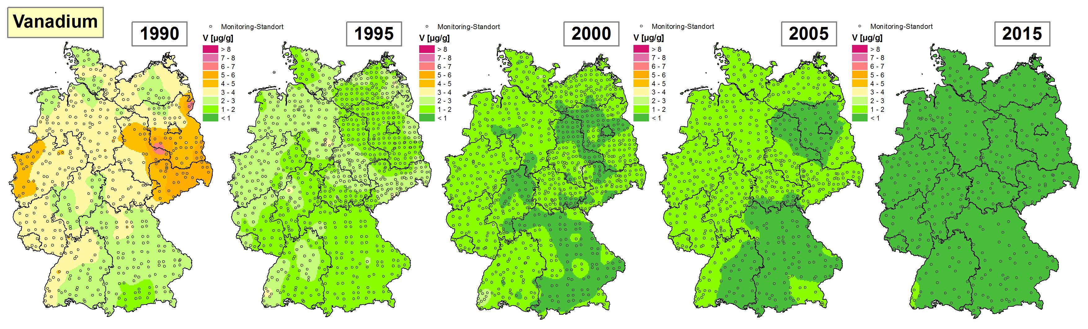 Die Grafik zeigt die Höhe der Bioakkumulation von Vanadium und Entwicklung dieser Konzentration von 1990 bis 2015/16 in Deutschland.