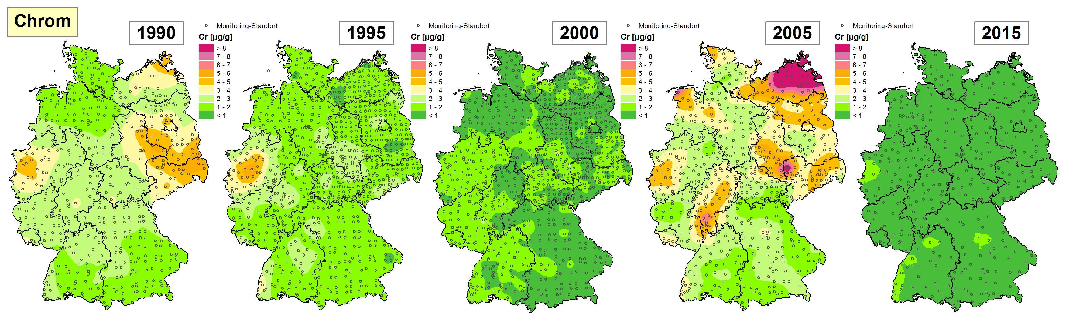 Die Grafik zeigt die Höhe der Bioakkumulation von Chrom und Entwicklung dieser Konzentration von 1990 bis 2015/16 in Deutschland.