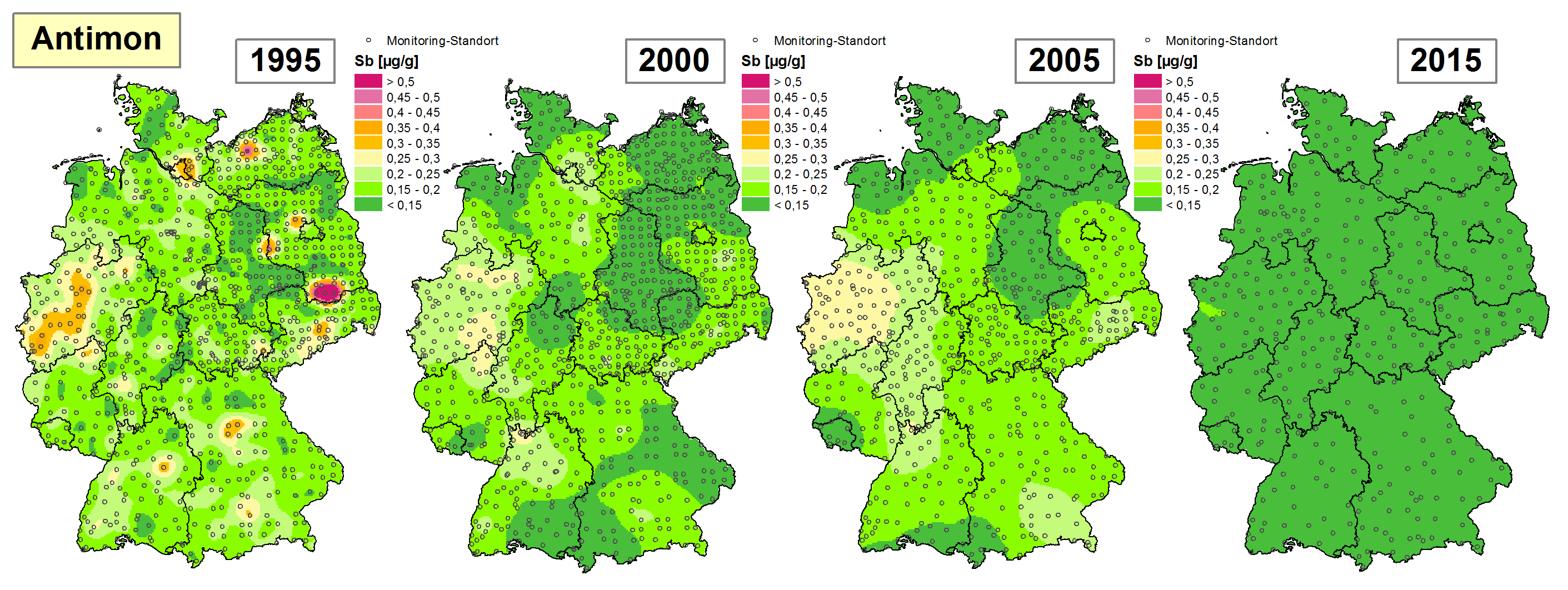 Die Grafik zeigt die Höhe der Bioakkumulation von Antimon und Entwicklung dieser Konzentration von 1995 bis 2015/16 in Deutschland.