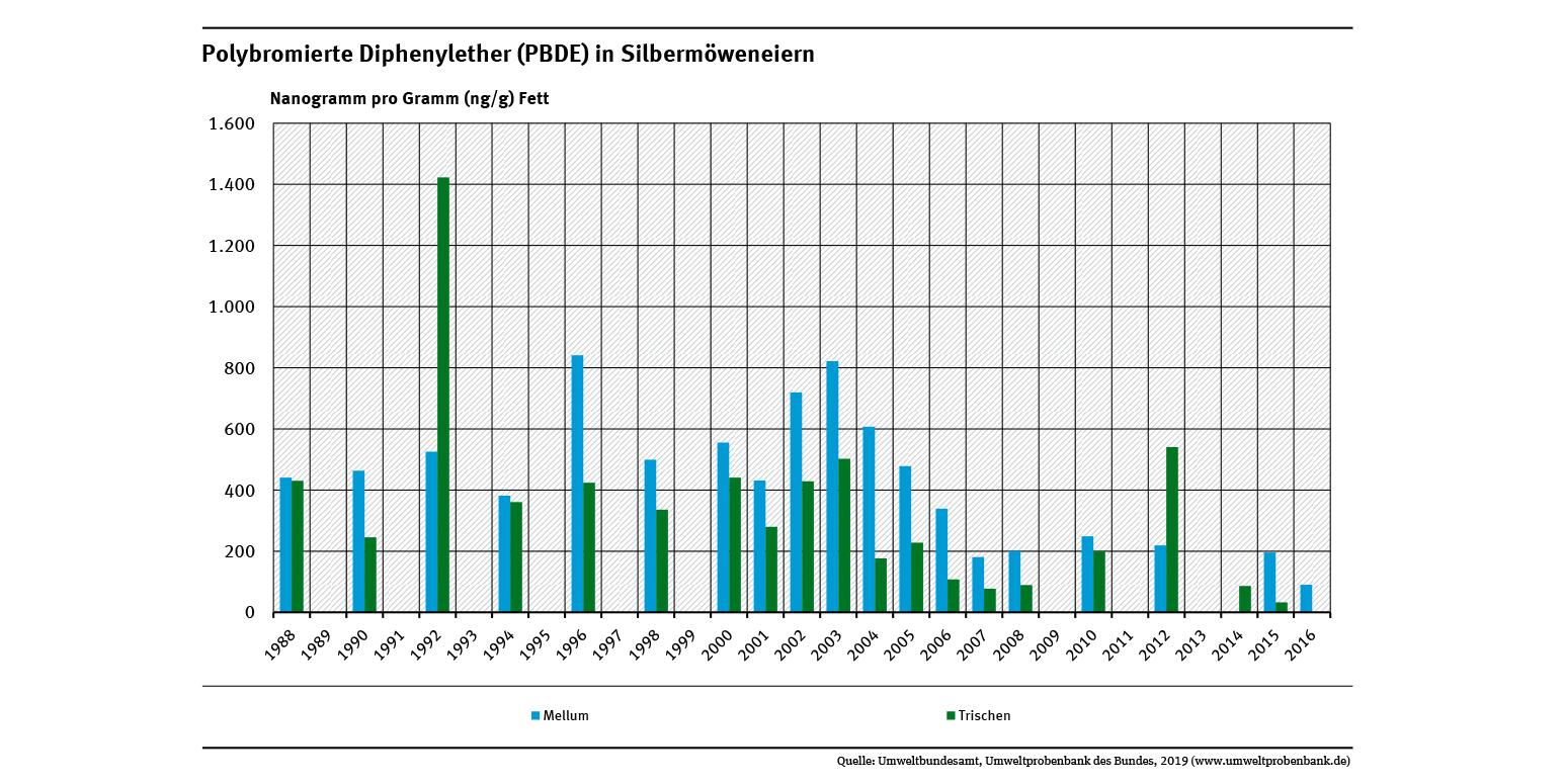 Silbermöweneier von den Nordseeinseln Trischen und Mellum wiesen hohe Gehalte an Polybromierten Diphenylethern auf. Seit Mitte der 1990er Jahre hat die Belastung auf Mellum aber um knapp 80 Prozent, die auf Trischen um 110 Prozent abgenommen.