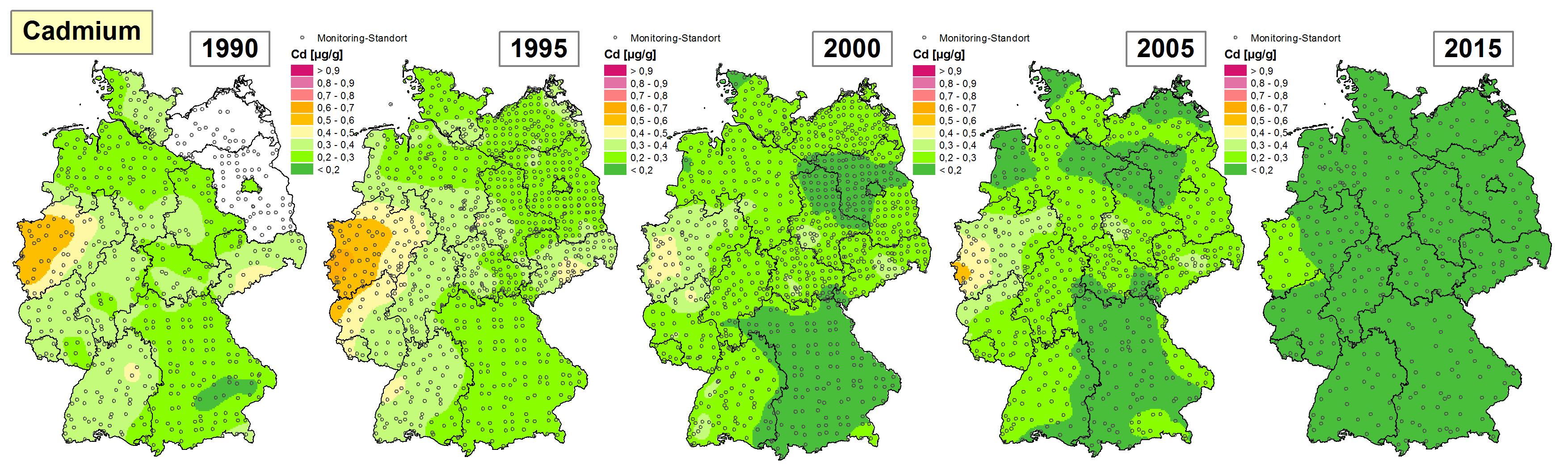 Die Grafik zeigt die Höhe der Bioakkumulation von Cadmium und Entwicklung dieser Konzentration von 1990 bis 2015/16 in Deutschland.