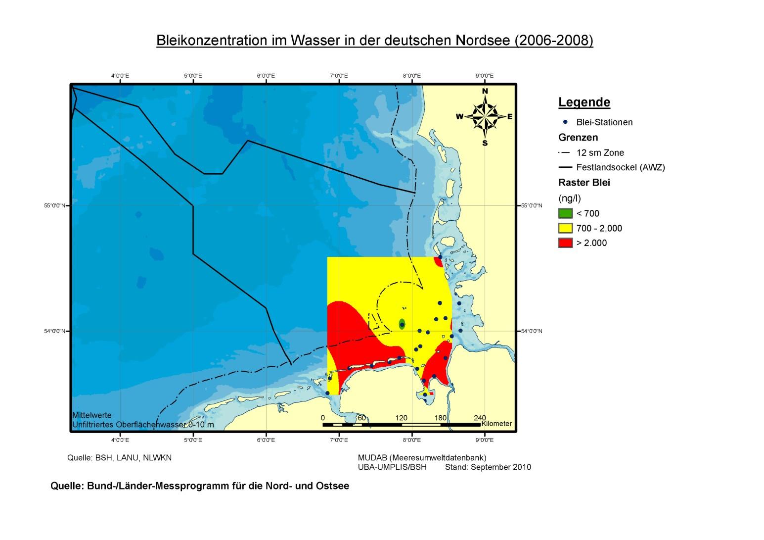 Von Blei wurden in den Jahren 2006 bis 2008 vor allem im küstennahen Wasser häufig hohe Gehalte gemessen.