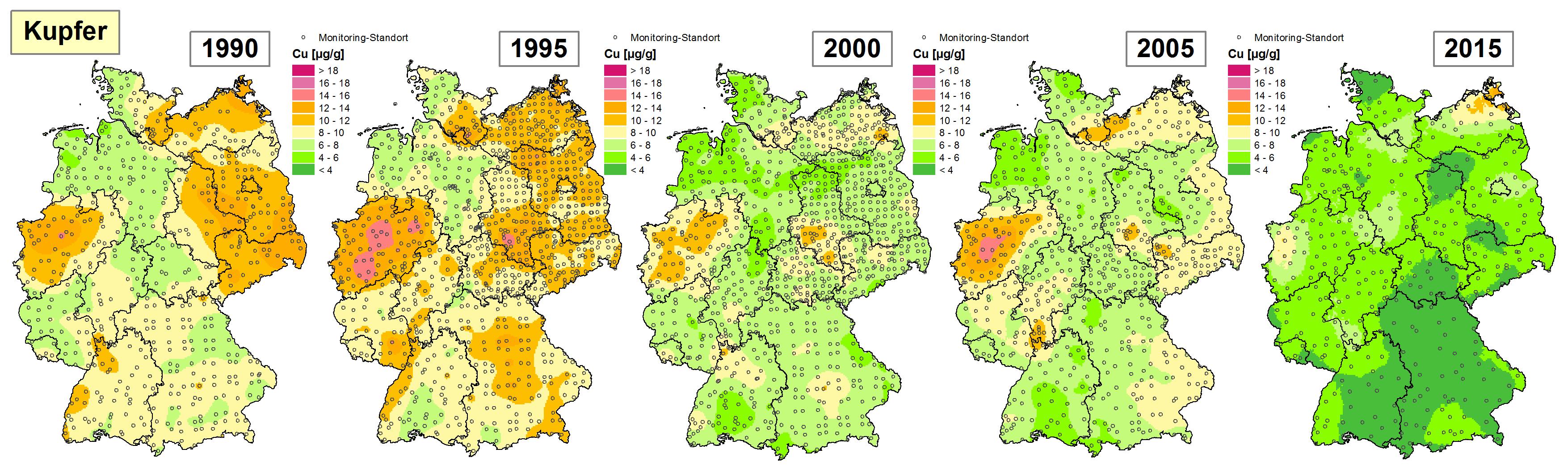Die Grafik zeigt die Höhe der Bioakkumulation von Kupfer und Entwicklung dieser Konzentration von 1990 bis 2015/16 in Deutschland.