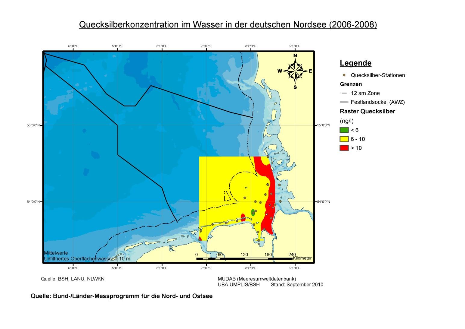 Erhöhte Quecksilberkonzentrationen wurden in den Jahren 2006 bis 2008 vor allem im Bereich der Elbe-Abflussfahne gemessen. Die Konzentration betrug dort mehr als zehn Nanogramm Quecksilber pro Liter Wasser.
