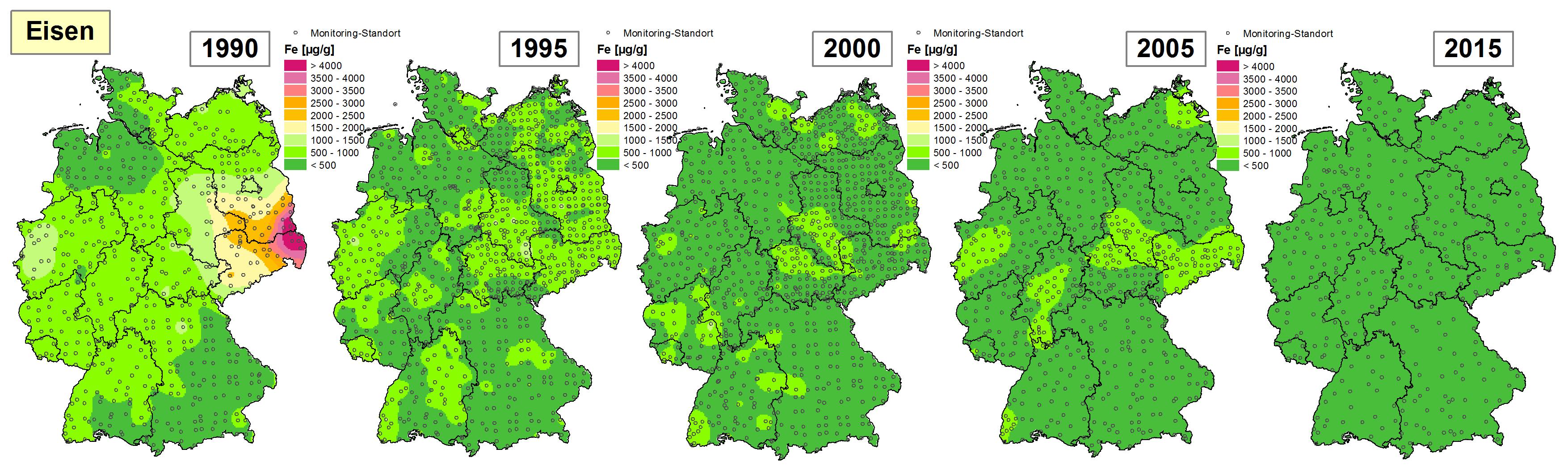 Die Grafik zeigt die Höhe der Bioakkumulation von Eisen und Entwicklung dieser Konzentration von 1990 bis 2015/16 in Deutschland.
