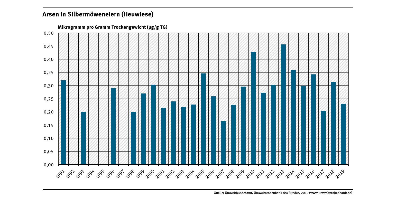Die Arsenbelastung von Silbermöweneiern aus dem Kubitzer Bodden ist zwischen 2001-2014 um beinahe 40 Prozent gestiegen und zeigt seitdem wieder eine Abnahme.