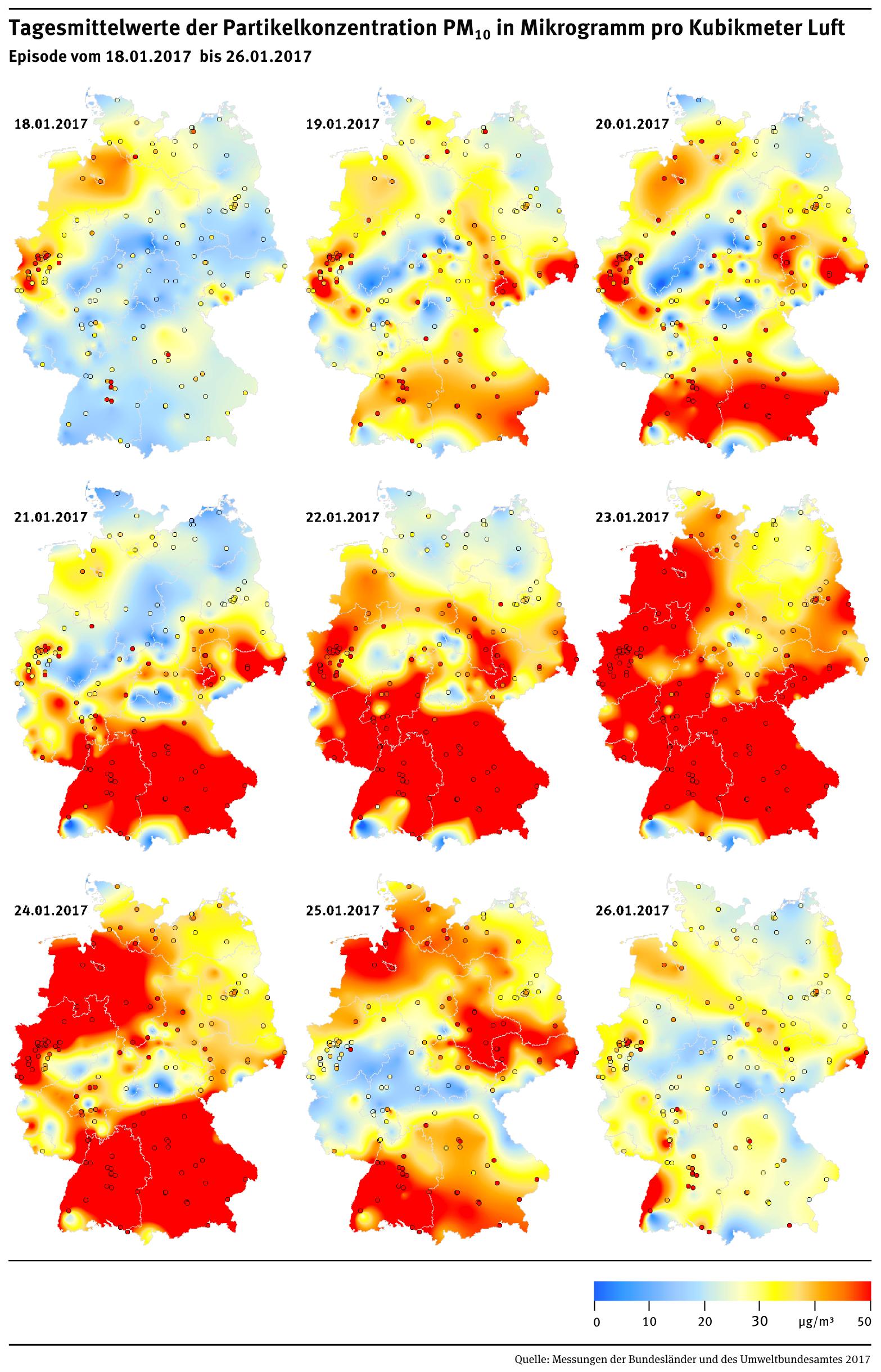 luftverschmutzung karte deutschland Karte: Tagesmittelwerte der Partikelkonzentration PM10