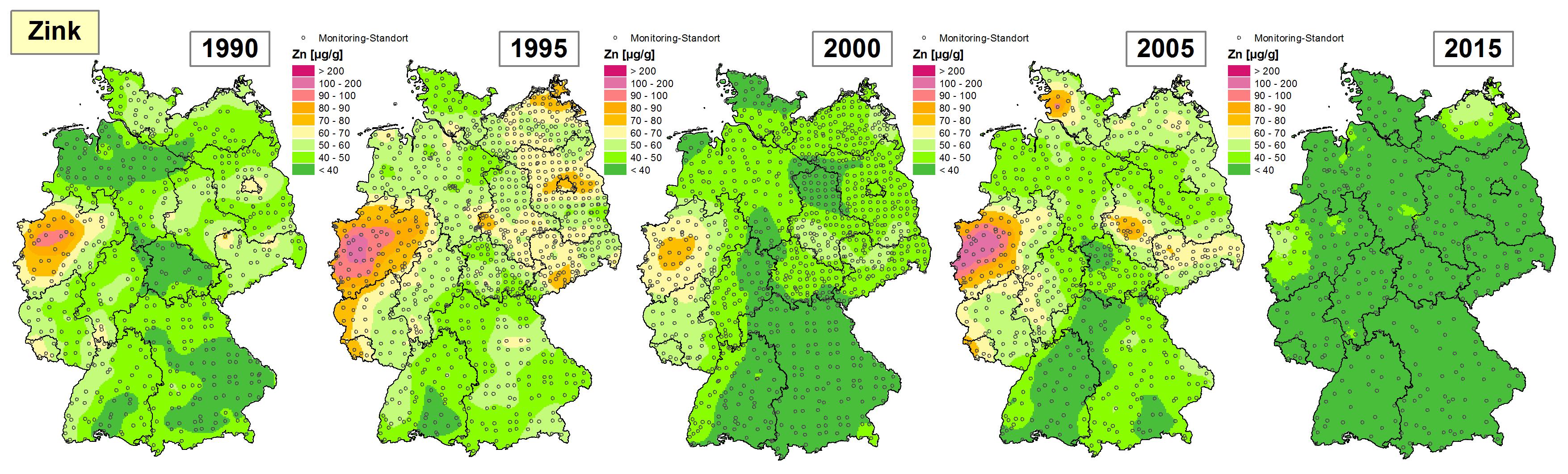 Die Grafik zeigt die Höhe der Bioakkumulation von Zink und Entwicklung dieser Konzentration von 1990 bis 2015/16 in Deutschland.