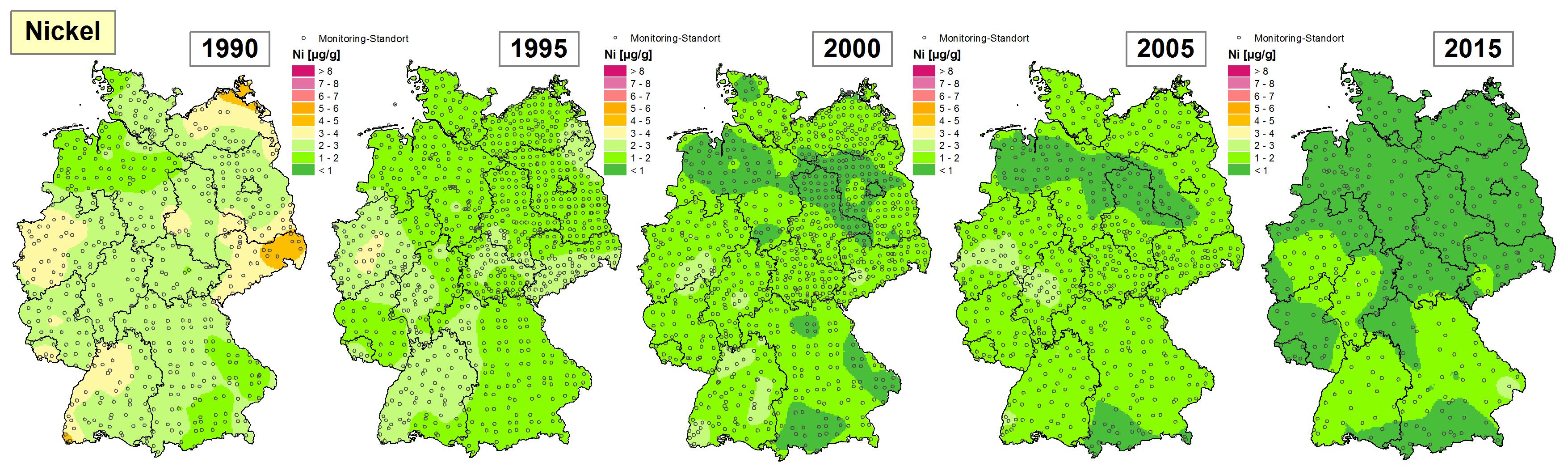 Die Grafik zeigt die Höhe der Bioakkumulation von Nickel und Entwicklung dieser Konzentration von 1990 bis 2015/16 in Deutschland.