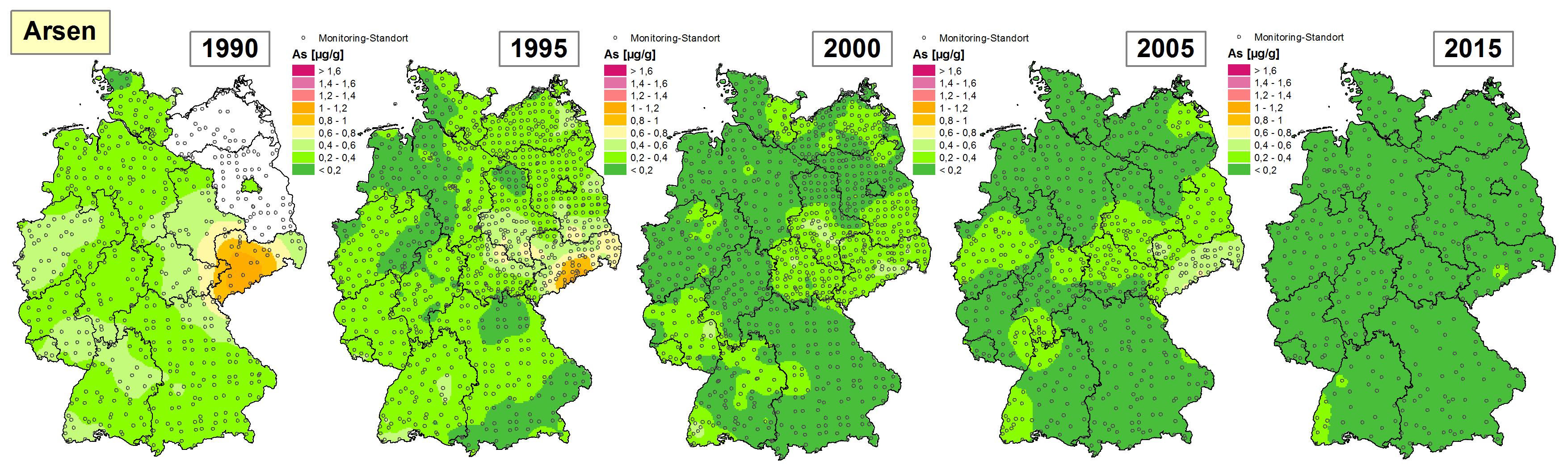 Die Grafik zeigt die Höhe der Bioakkumulation von Arsen und Entwicklung dieser Konzentration von 1990 bis 2015/16 in Deutschland.