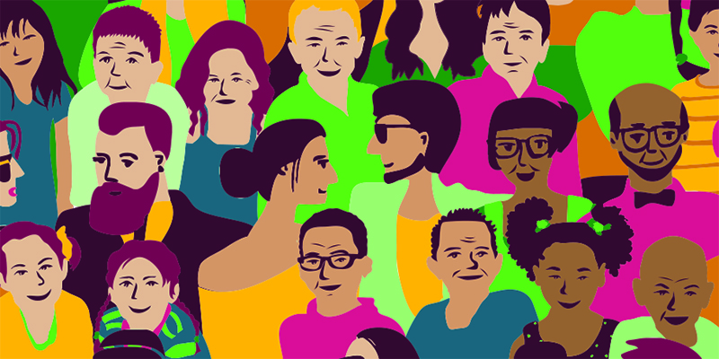 Eine bunte Grafik mit verschiedenen Gesichtern