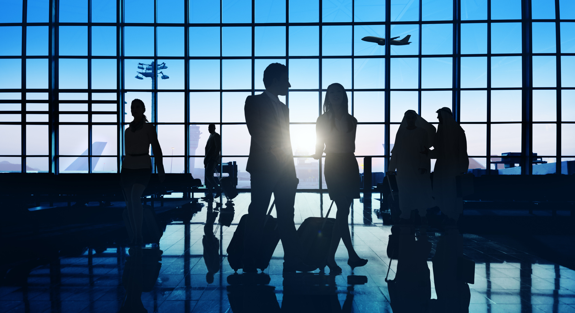 business travellers in an airport
