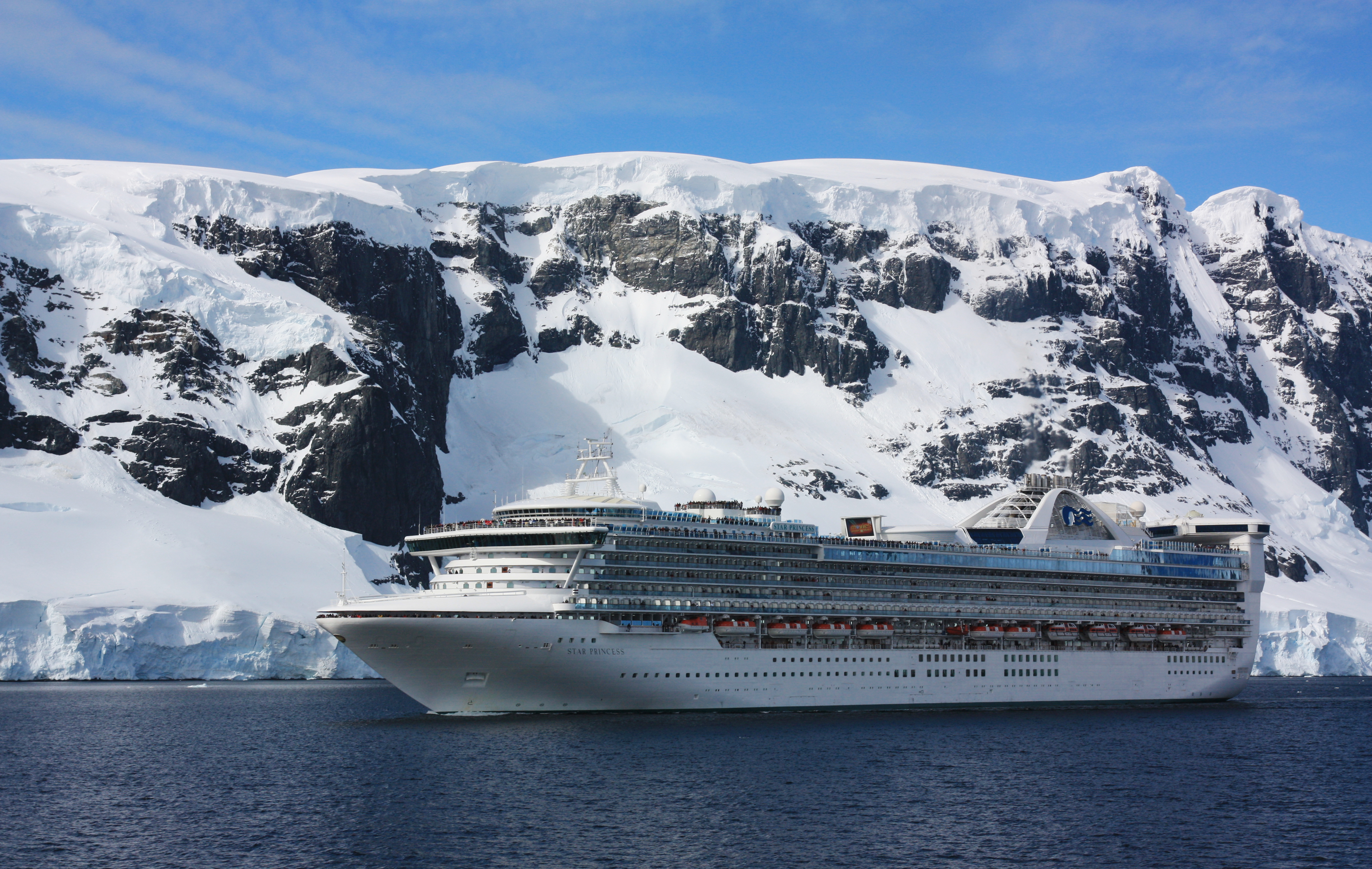 A cruise ship in the Antarctic