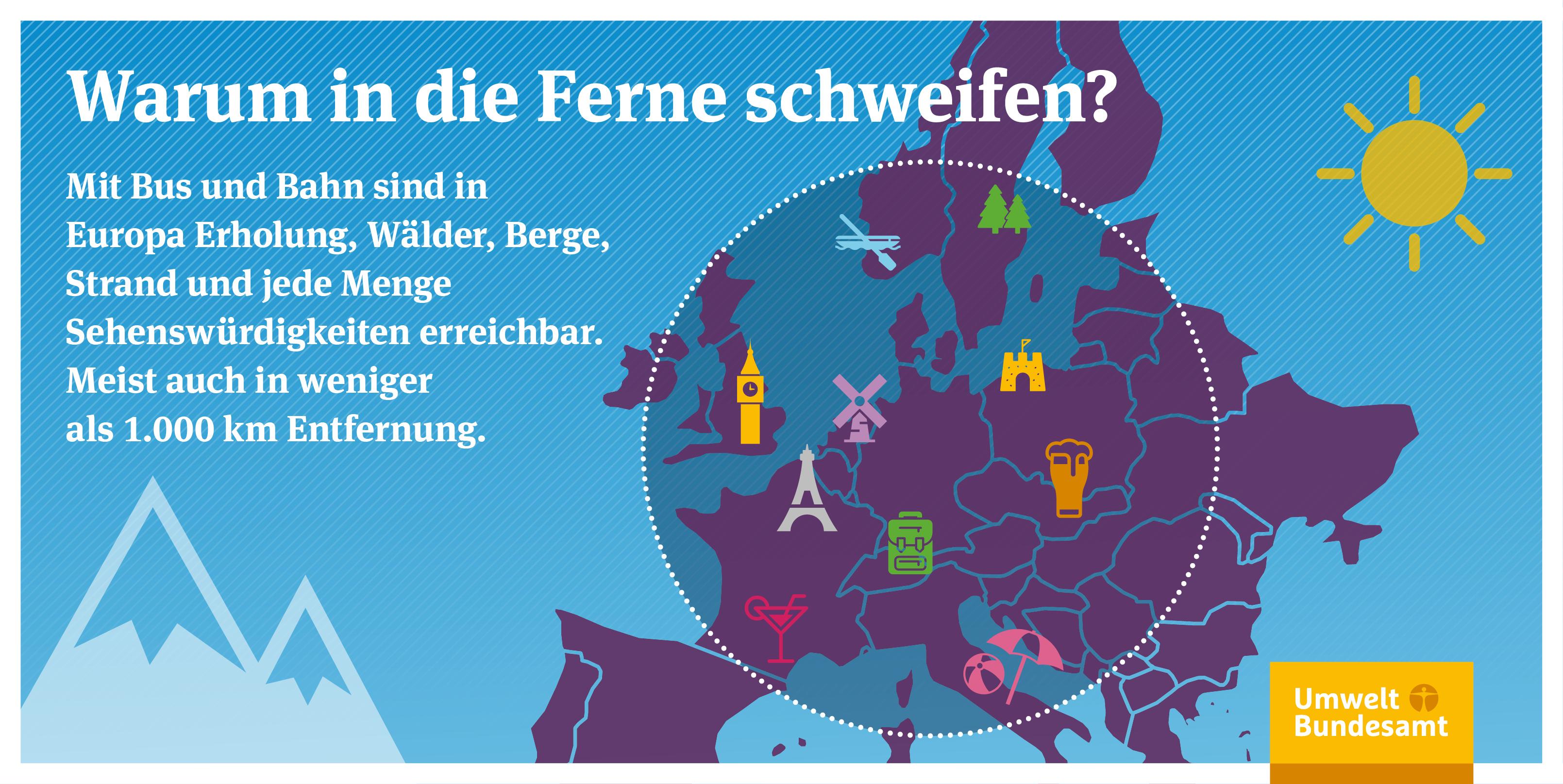 Mit Bus und Bahn sind in Europa sehr viele touristische Ziele erreichbar