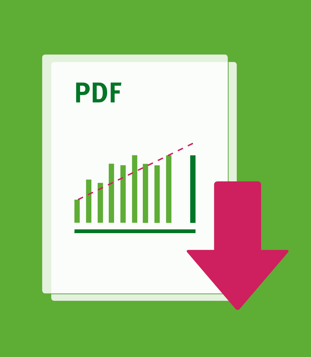 There is a stack of paper with a diagram on it and the label pdf. An arrow indicates that a pdf can be downloaded here.