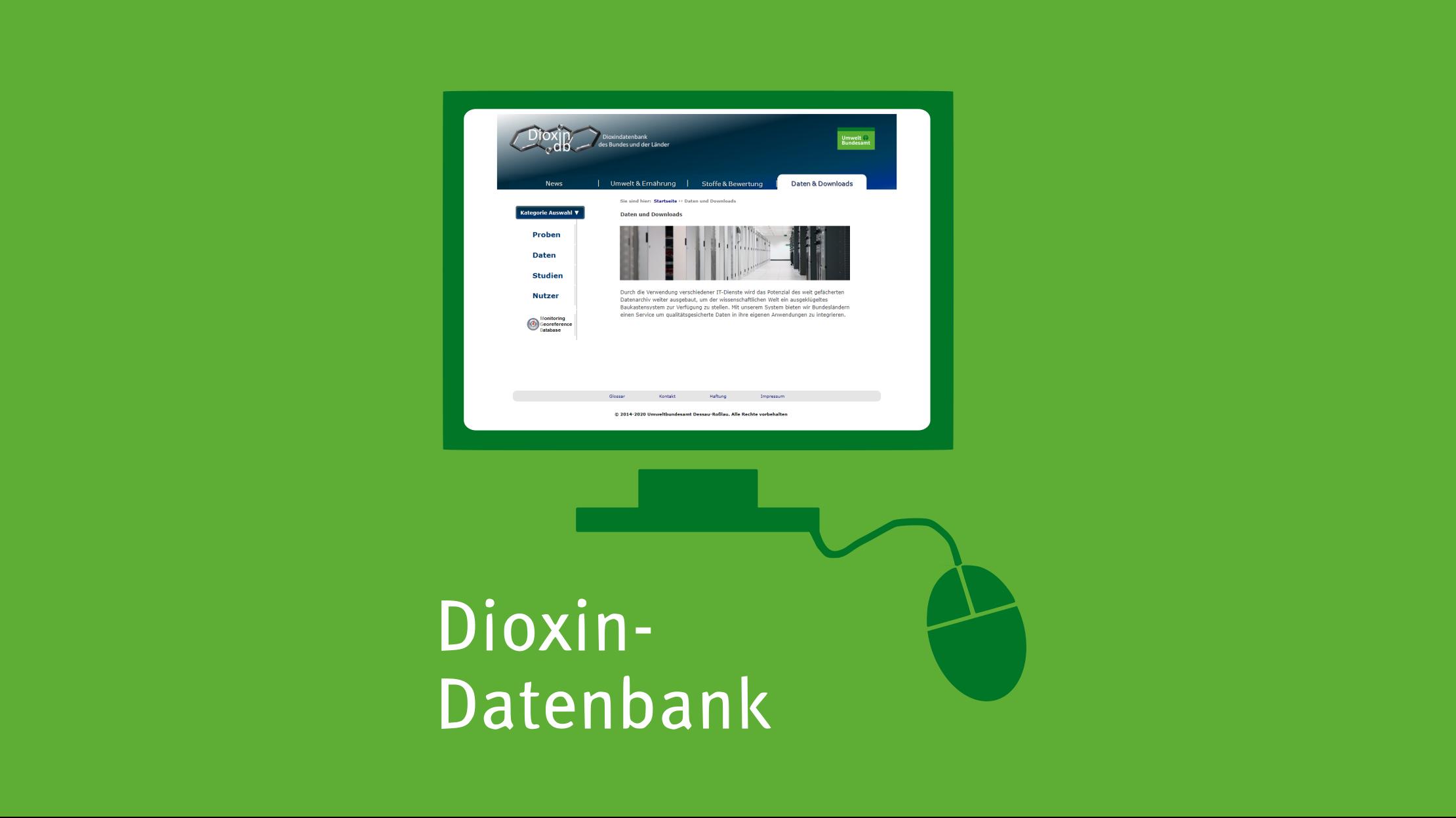 Mit Klick aufs Bild gelangen Sie zur verlinkten Dioxin-Datenbank-Website.