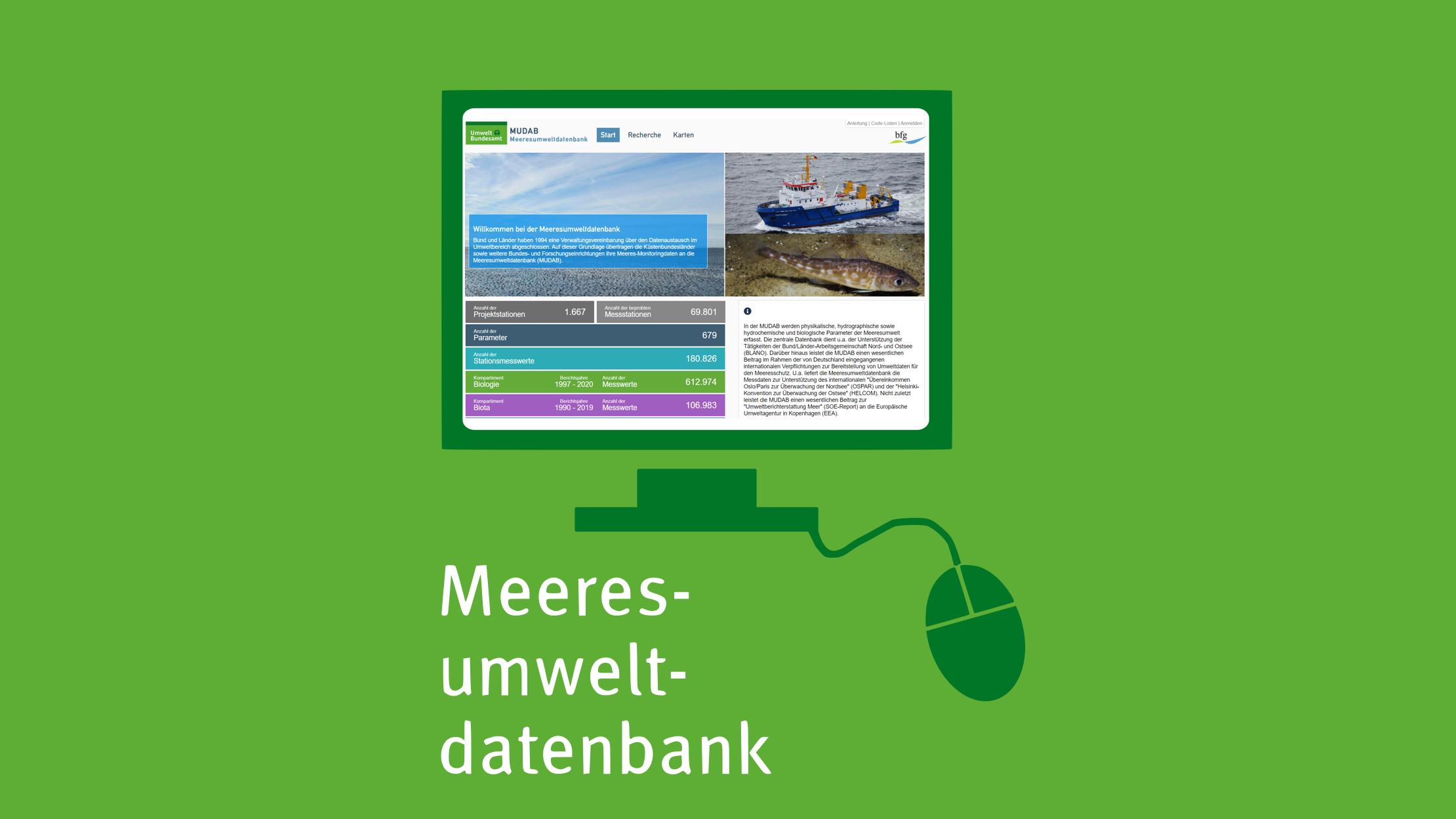 Mit Klick aufs Bild gelangen Sie zur verlinkten Meeresumweltdatenbank-Website.