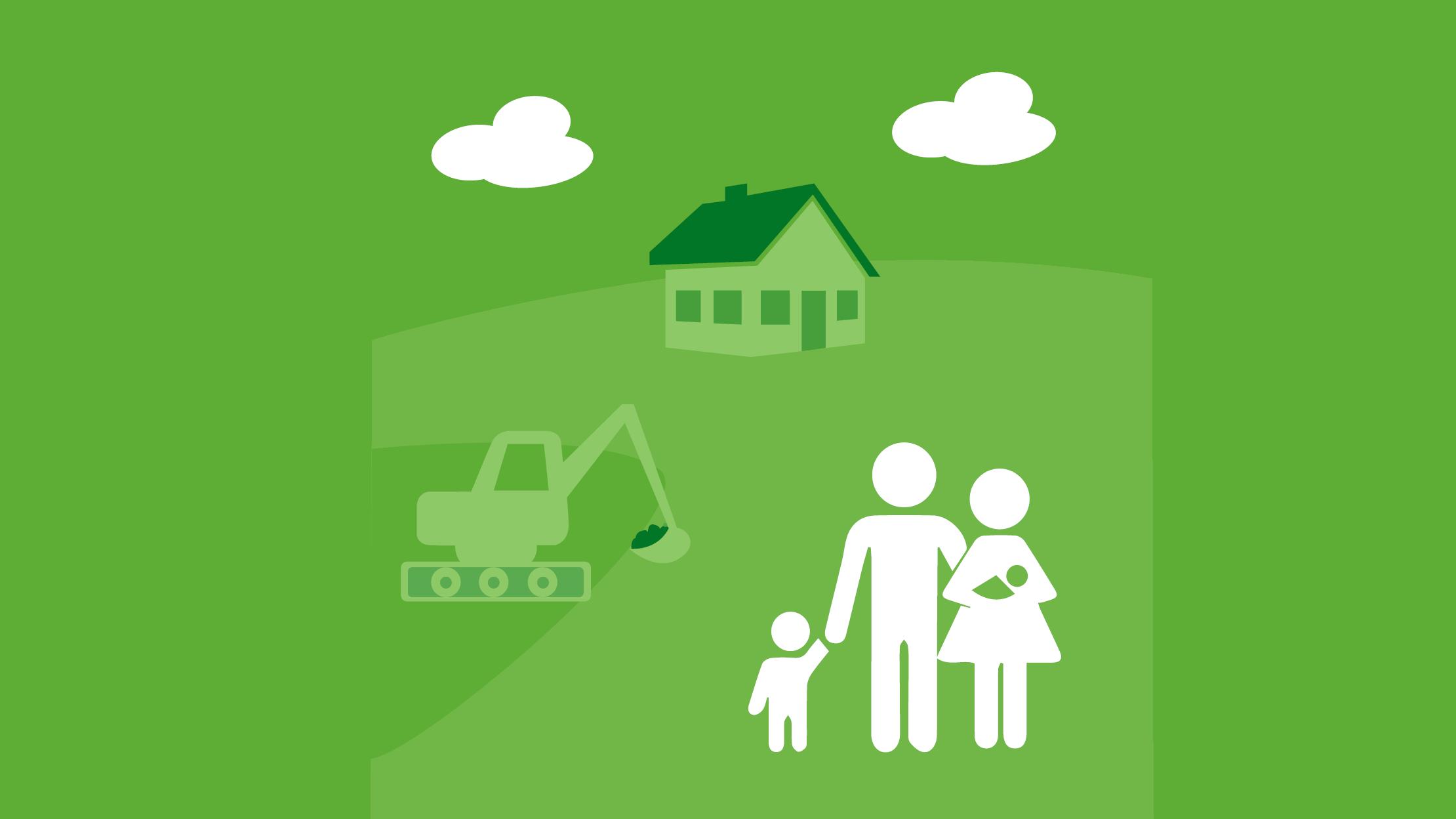 Einstiegskachel Umweltatlas Bauen, Wohnen, Haushalte