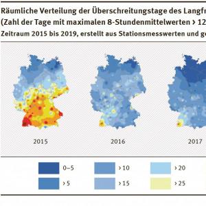 Ozon: Karte: Räumliche Verteilung der Überschreitungstage des Langfristziels zum Schutz der Gesundheit