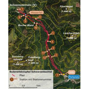 Karte mit Pfade und Stationen